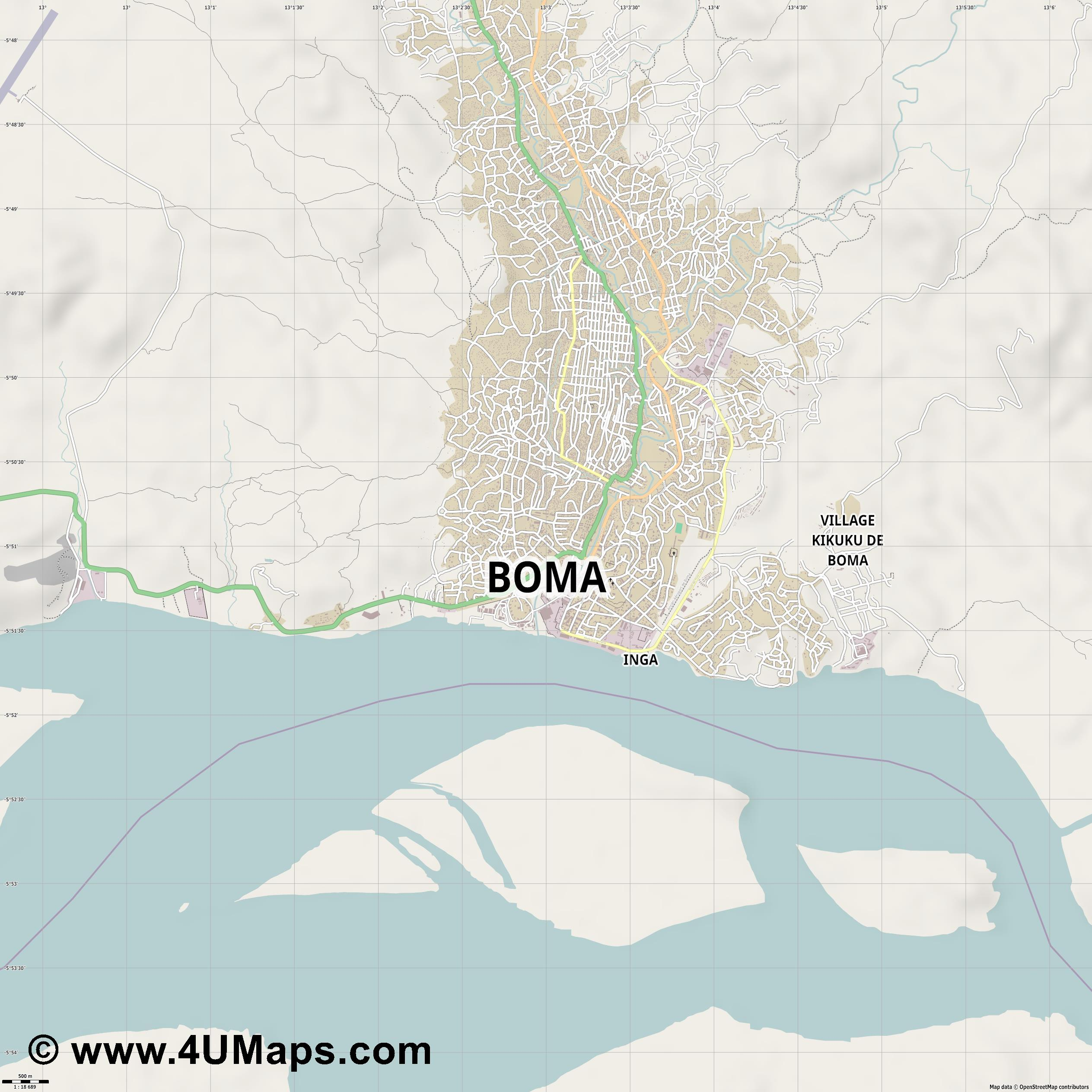 Boma  jpg ultra high detail preview vector city map