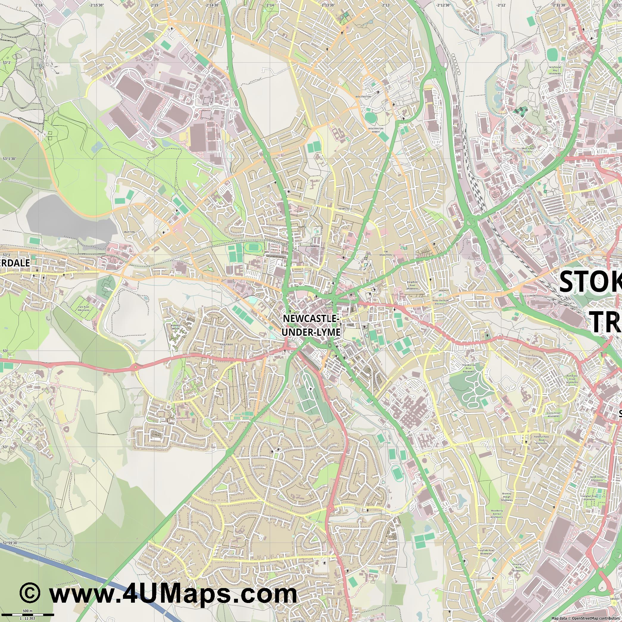 Newcastle under Lyme  jpg ultra high detail preview vector city map