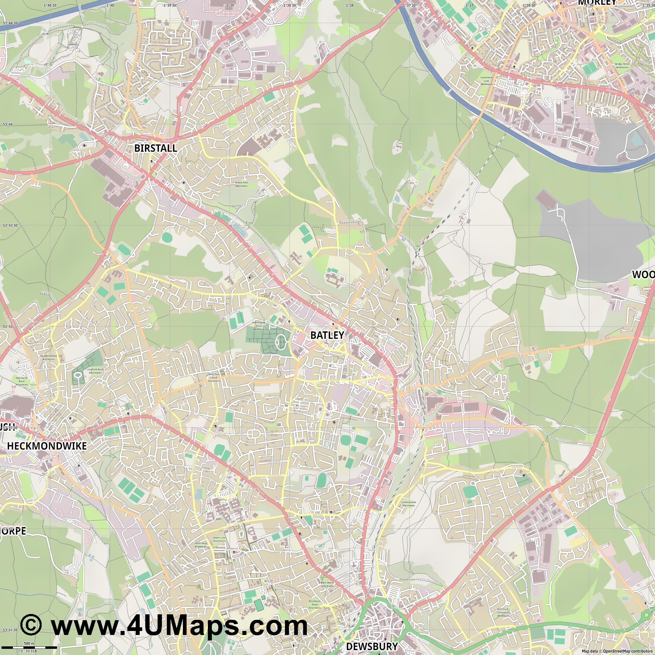 Batley  jpg ultra high detail preview vector city map