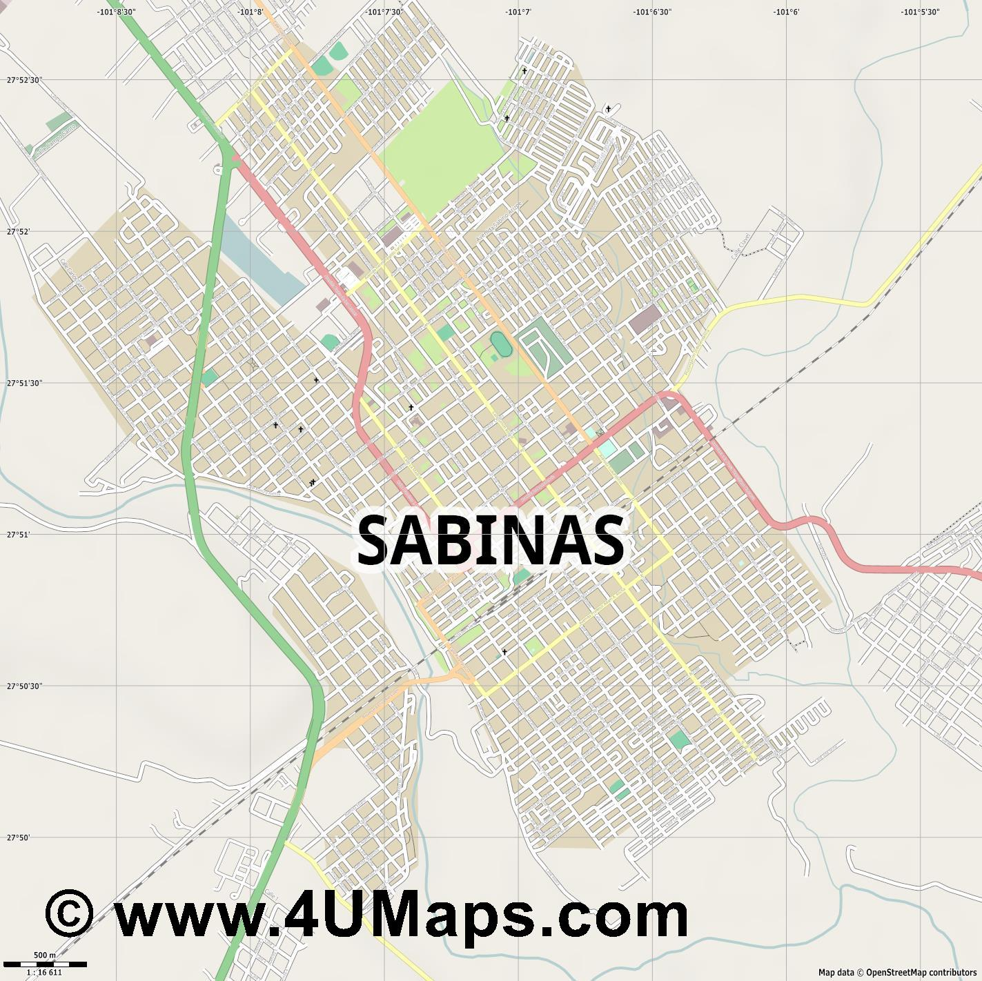 Sabinas  jpg ultra high detail preview vector city map