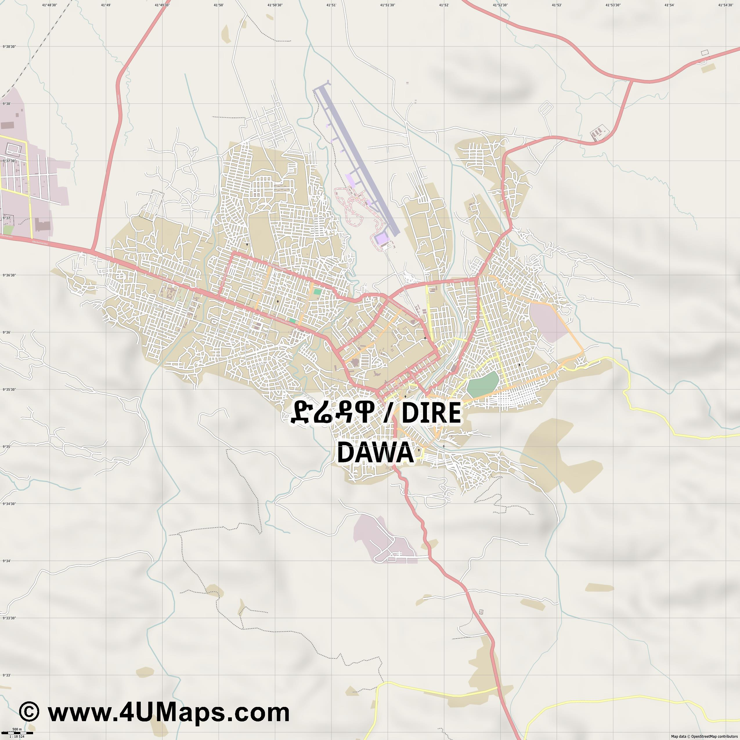 Dirē Dawa Dire Dawa Dire Daoua  jpg ultra high detail preview vector city map