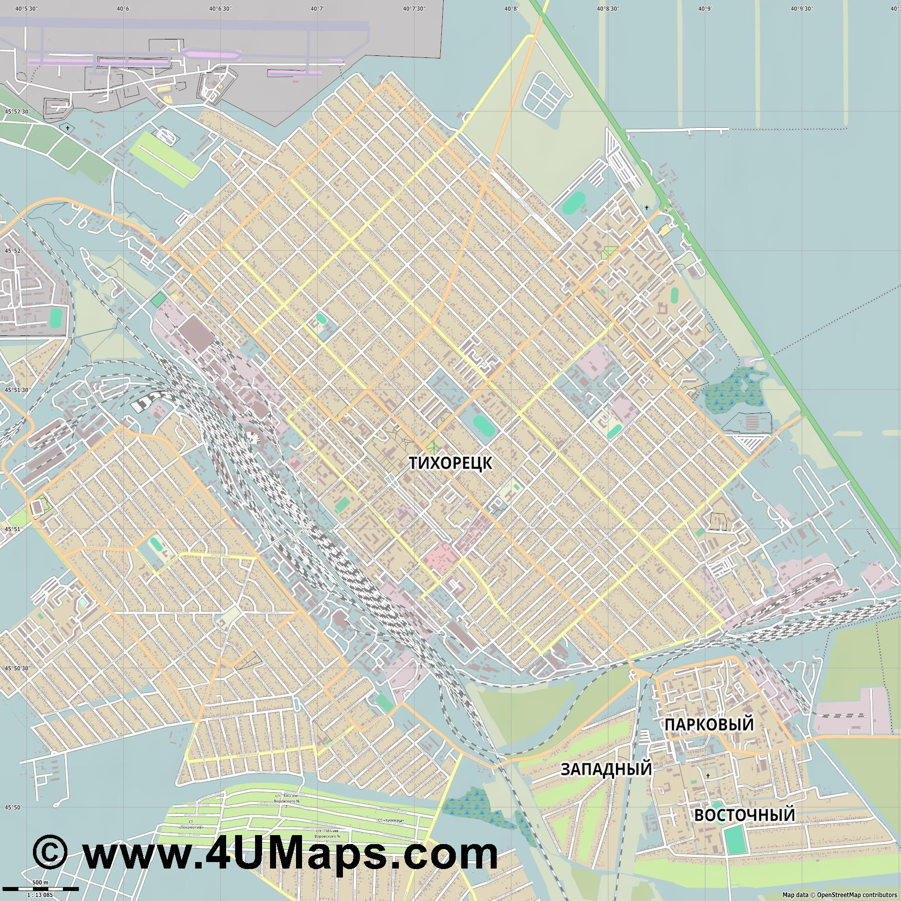 Тихорецк Tikhoretsk Tichorezk  jpg ultra high detail preview vector city map