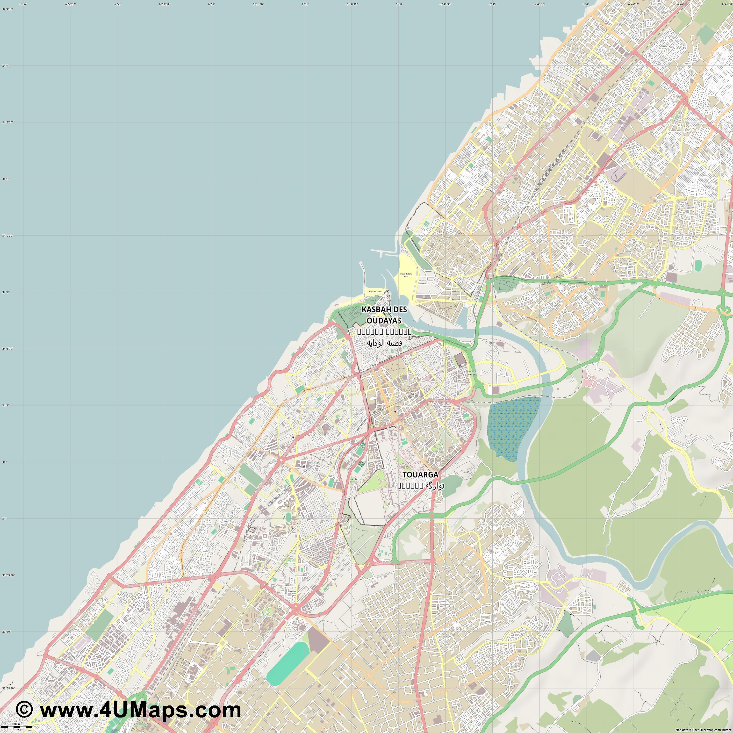 Rabat الرباط  jpg ultra high detail preview vector city map