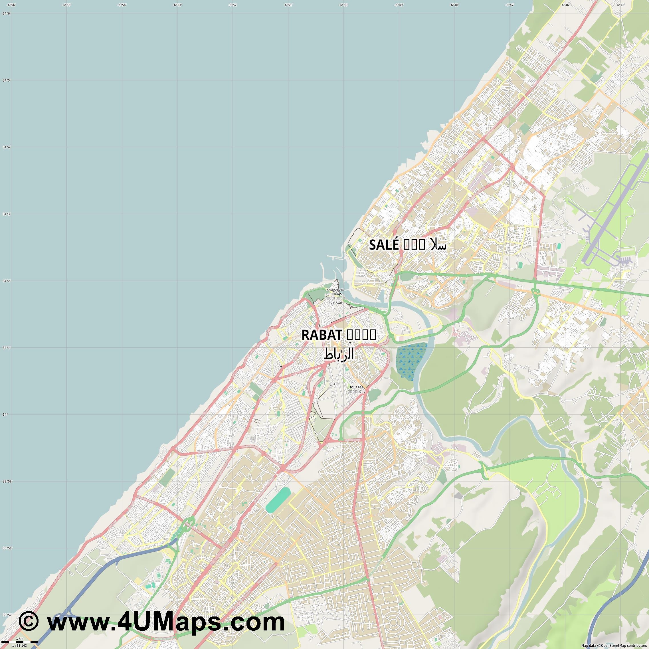Rabat الرباط  jpg high detail, large area preview vector city map