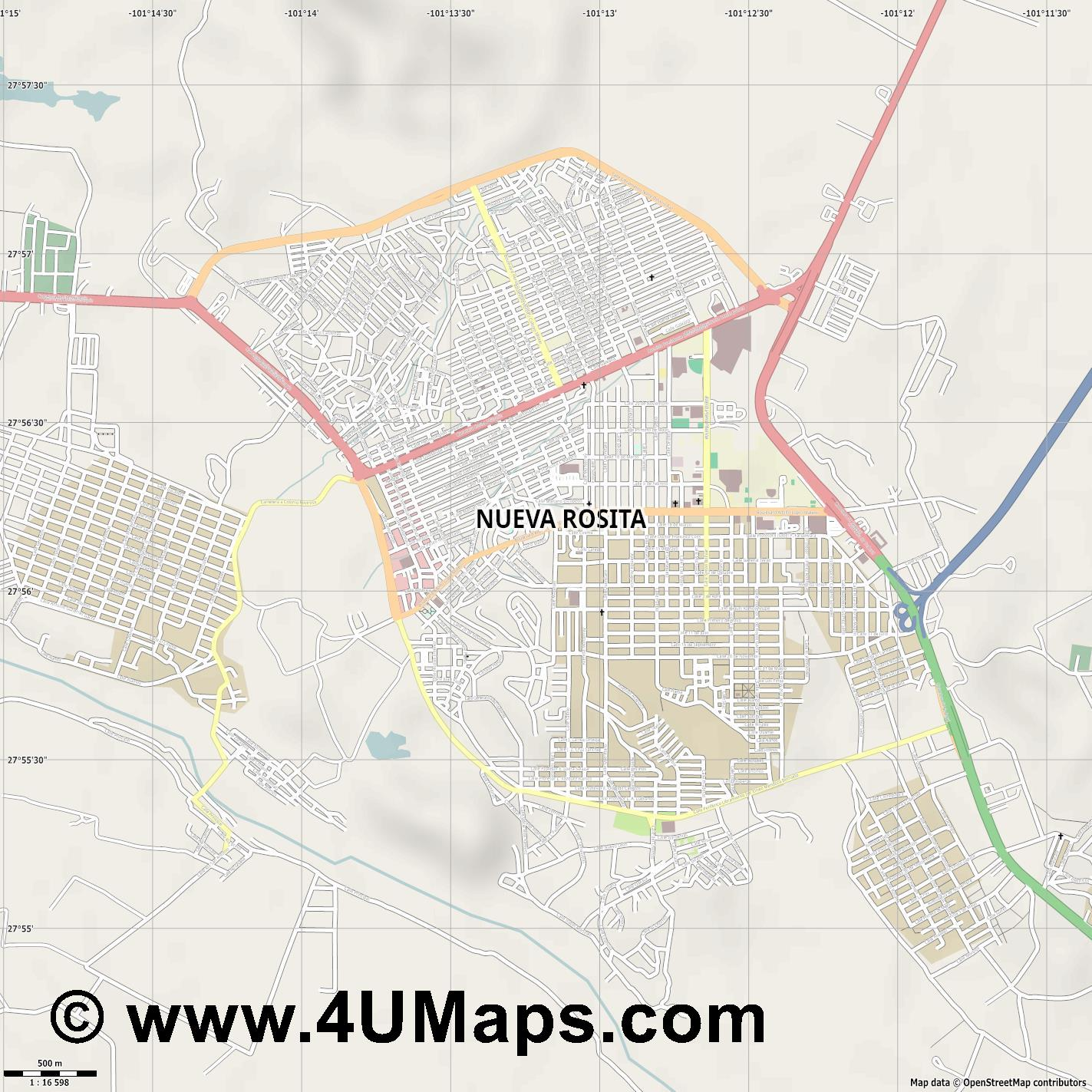 Nueva Rositaa  jpg ultra high detail preview vector city map