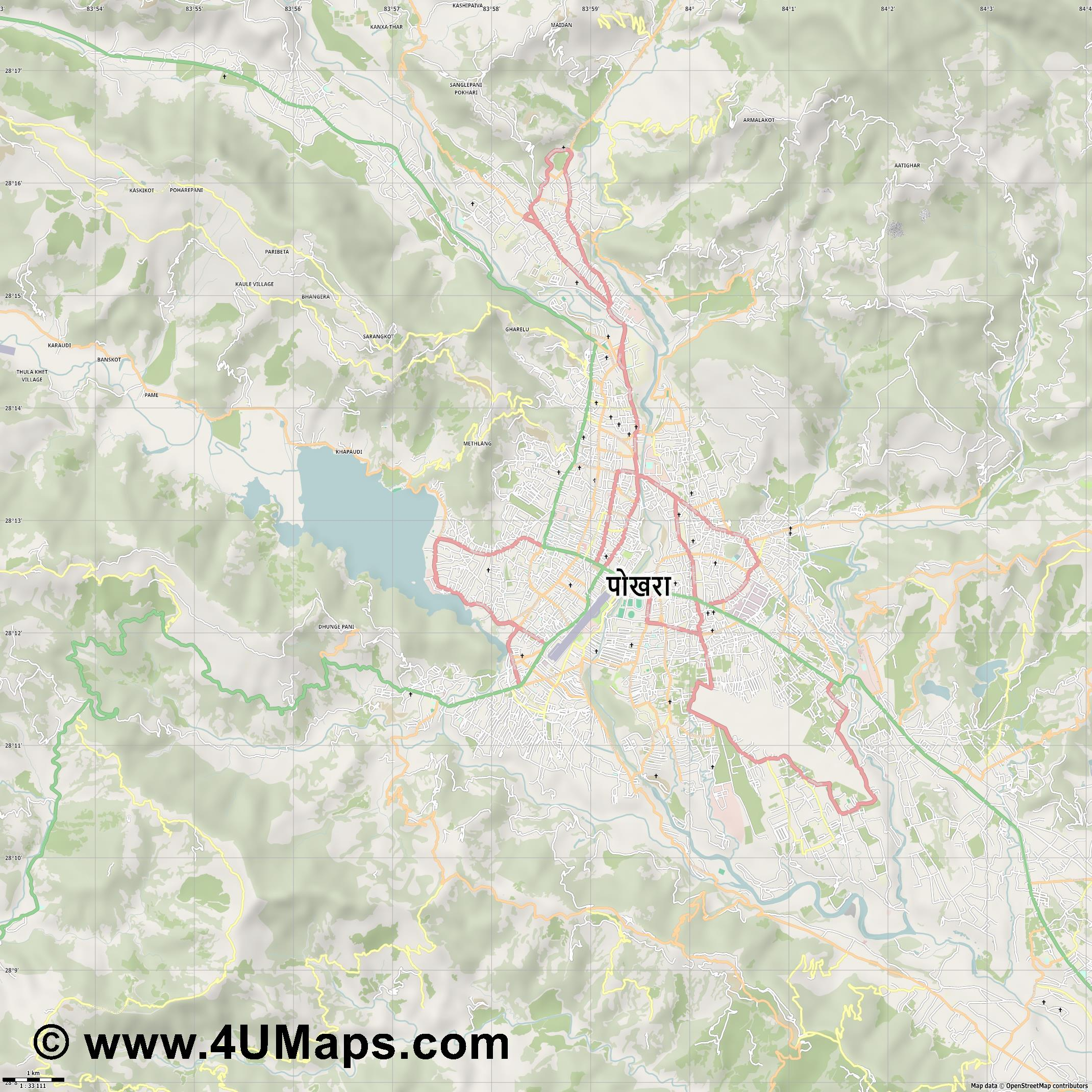 Pokhara  jpg high detail, large area preview vector city map