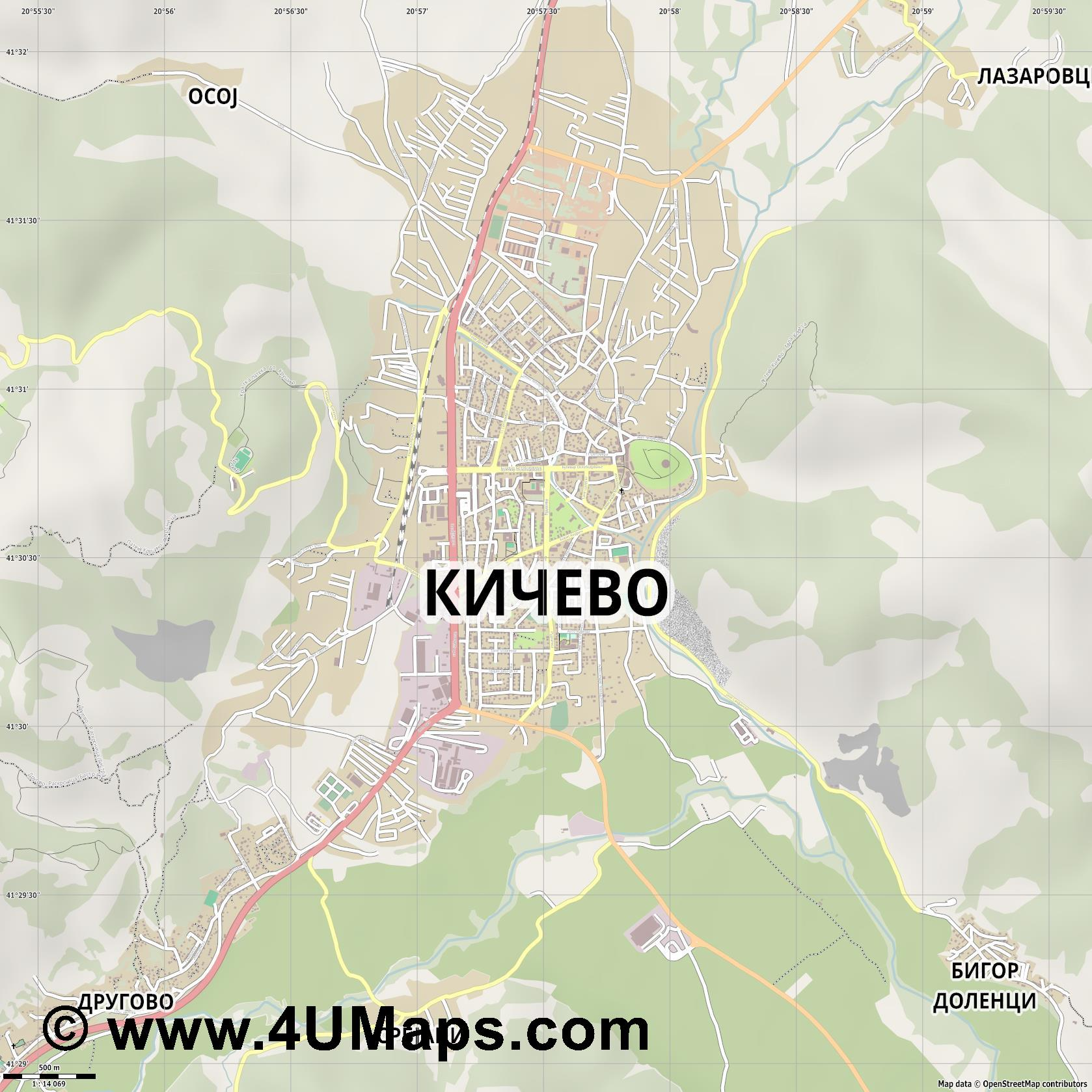 Кичево Kichevo Kitchevo  jpg ultra high detail preview vector city map
