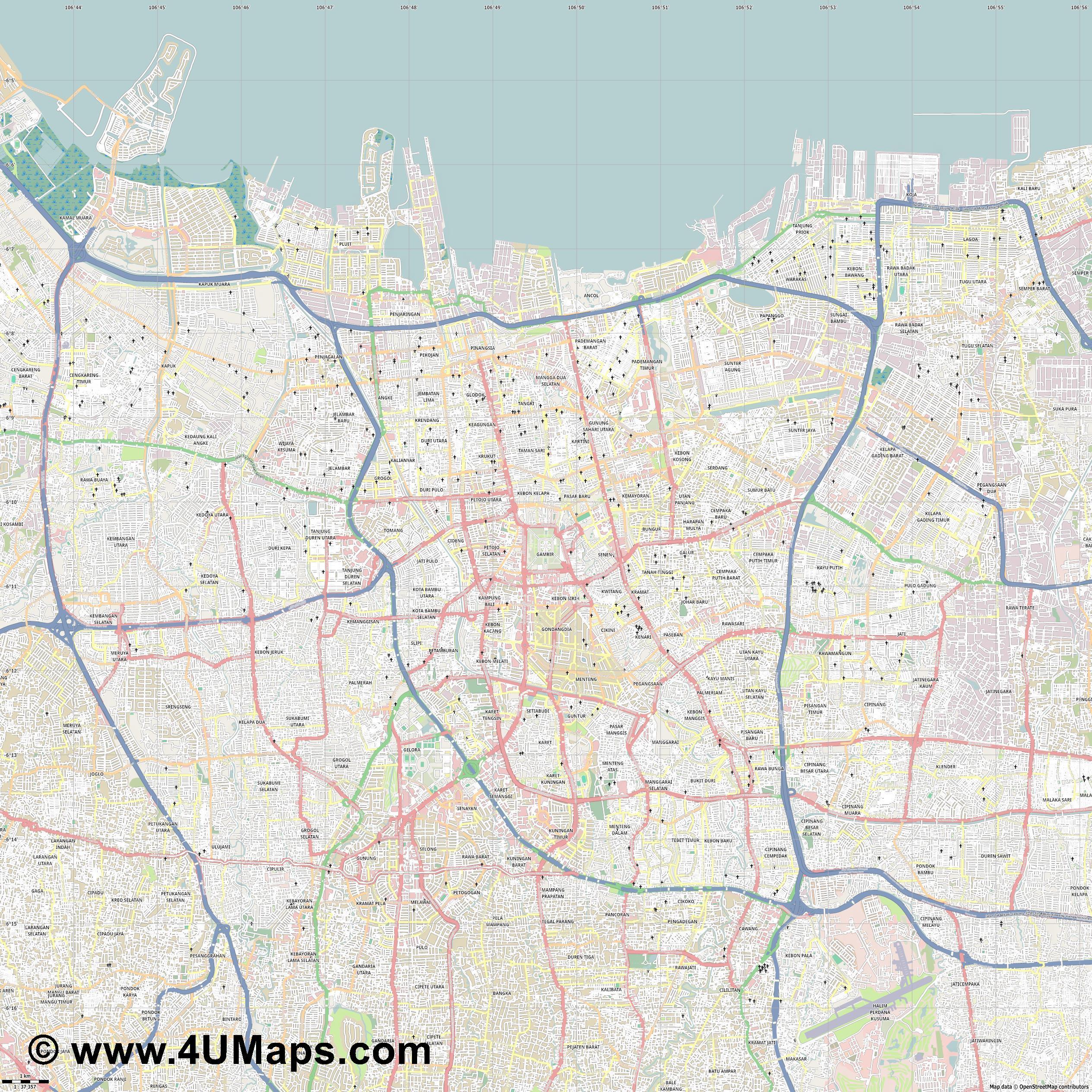 Map Jakarta.Pdf Svg Scalable Vector City Map Jakarta
