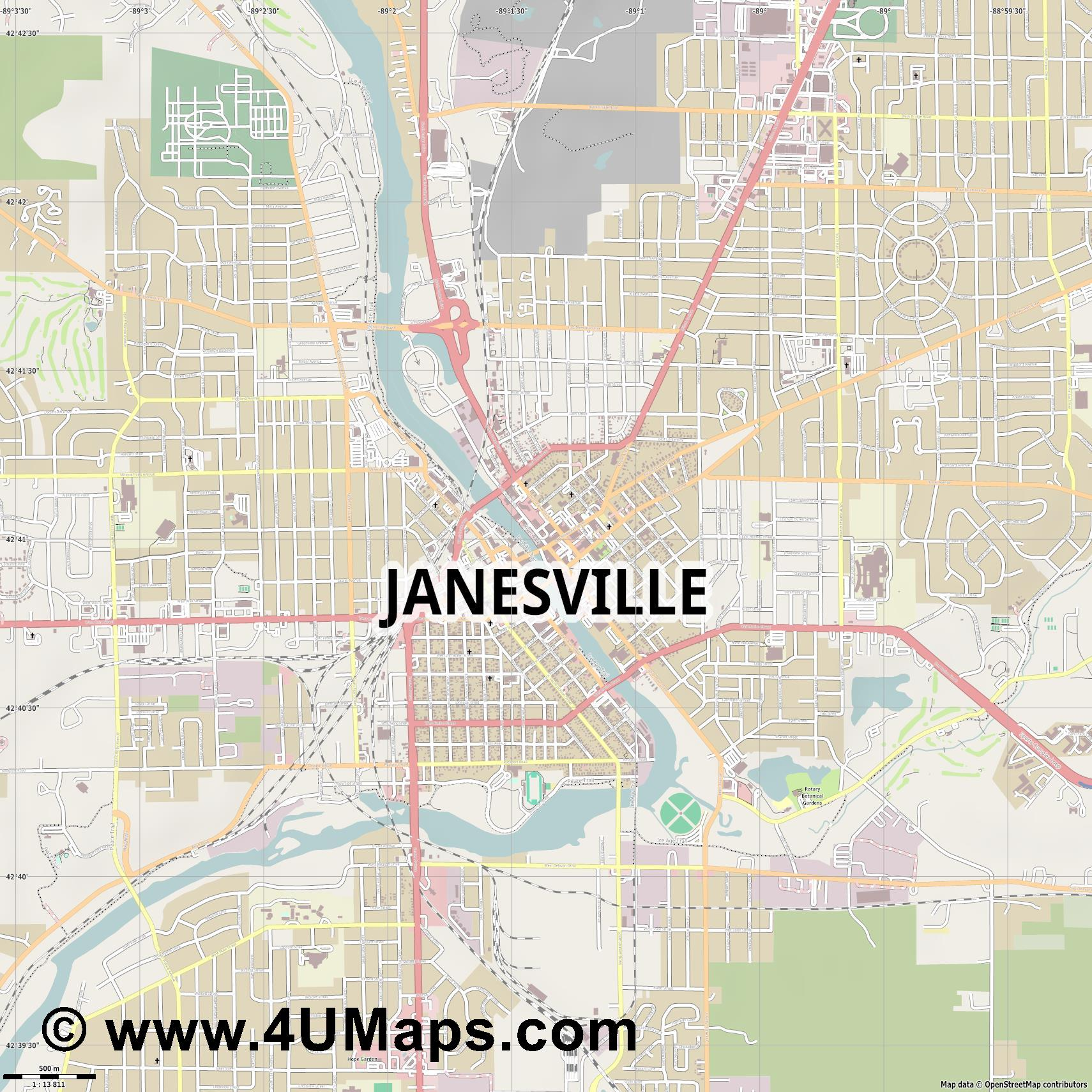 Janesville  jpg ultra high detail preview vector city map
