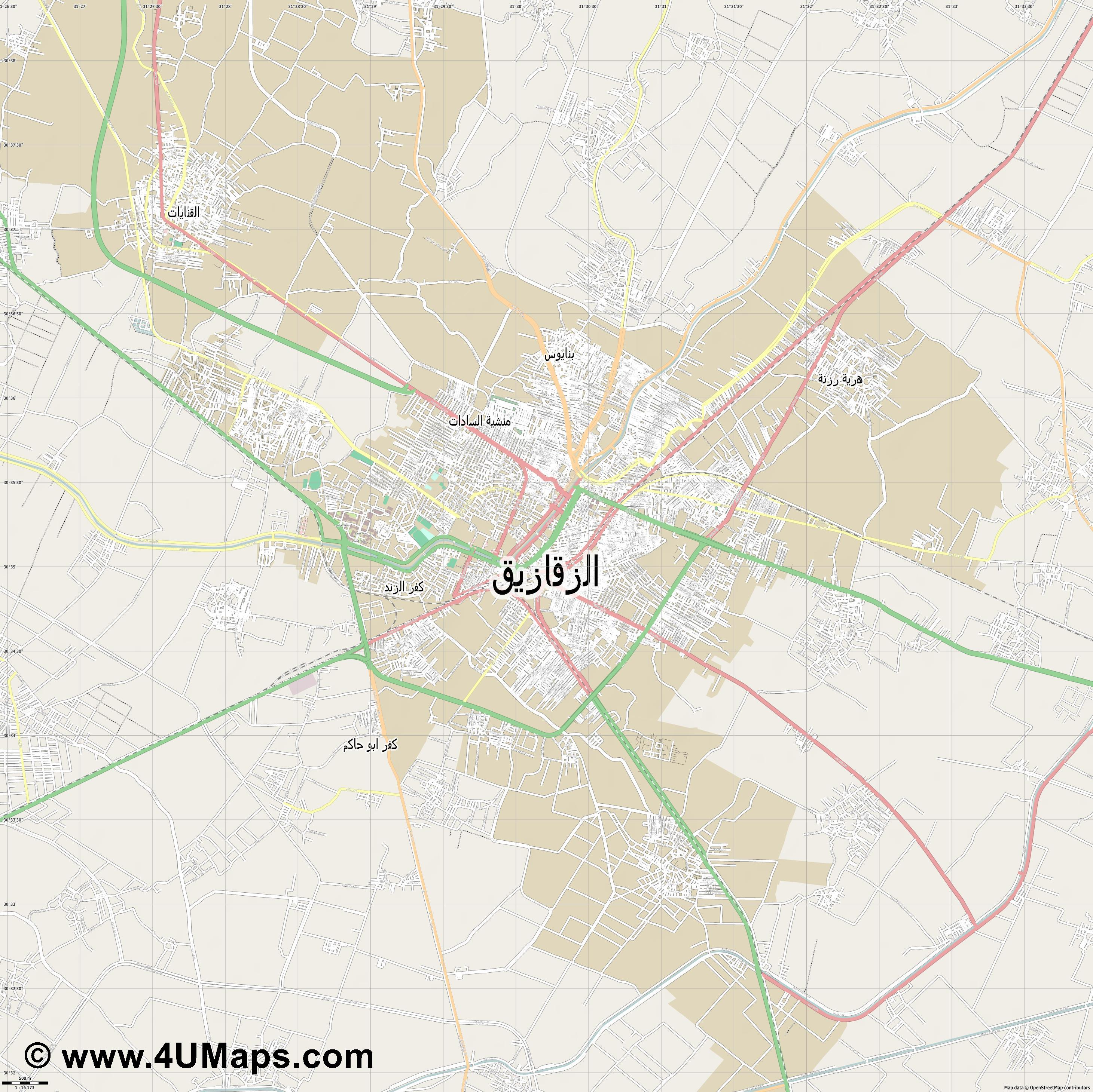 الزقازيق  Al Zaqaziq   jpg ultra high detail preview vector city map
