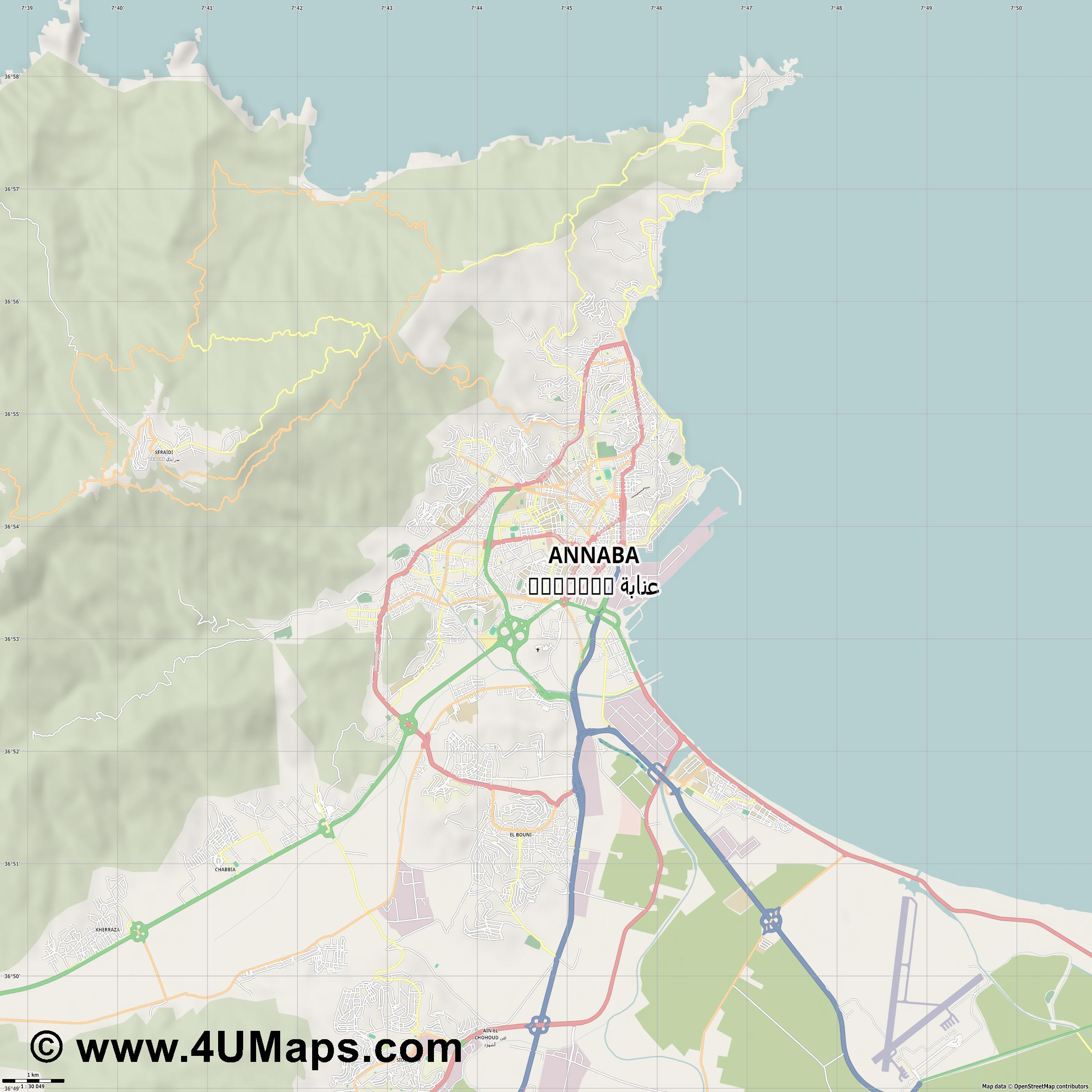 Annaba عنابة   jpg high detail, large area preview vector city map