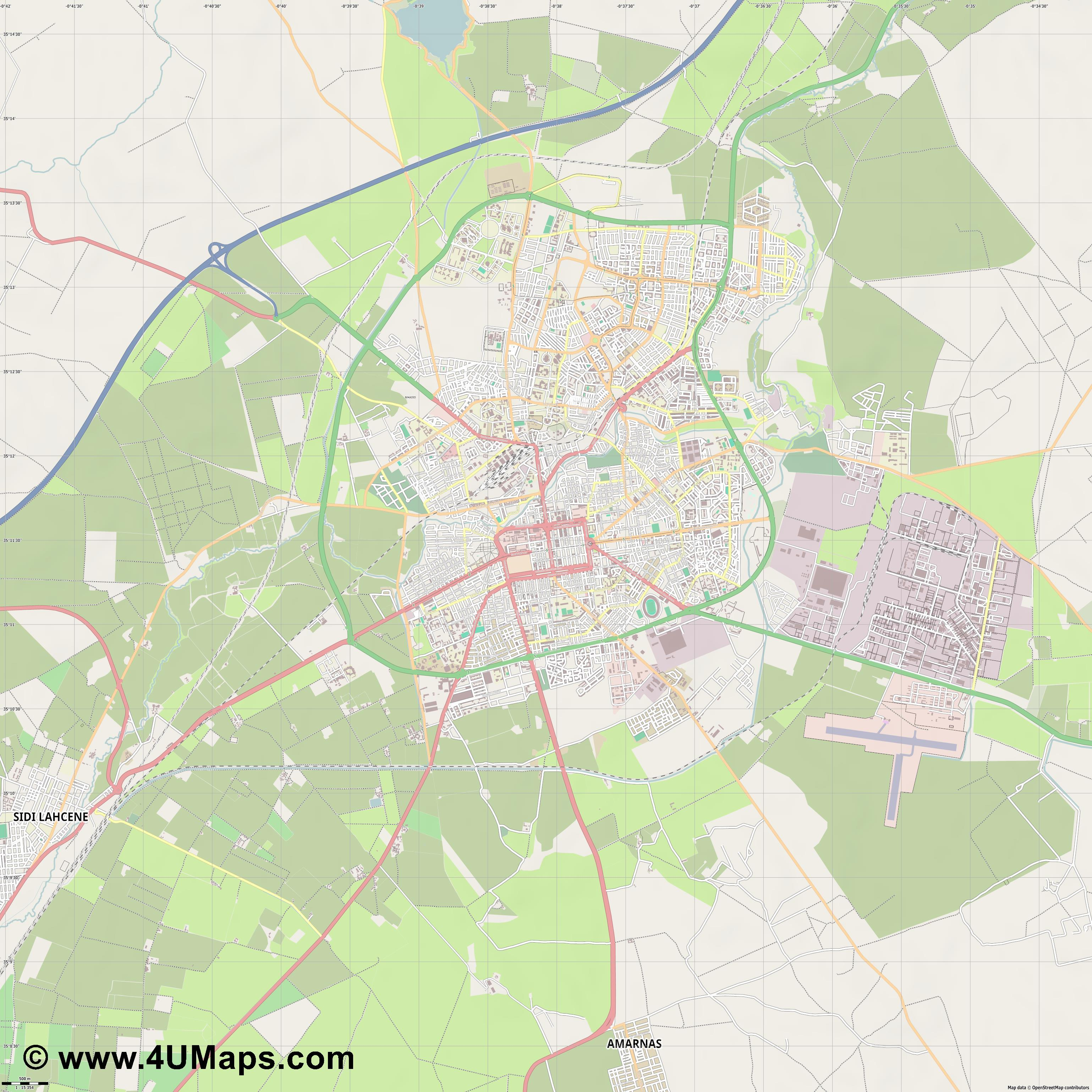 Sidi bel Abbès سيدي بلعباس Sidi Bel Abbès  jpg ultra high detail preview vector city map