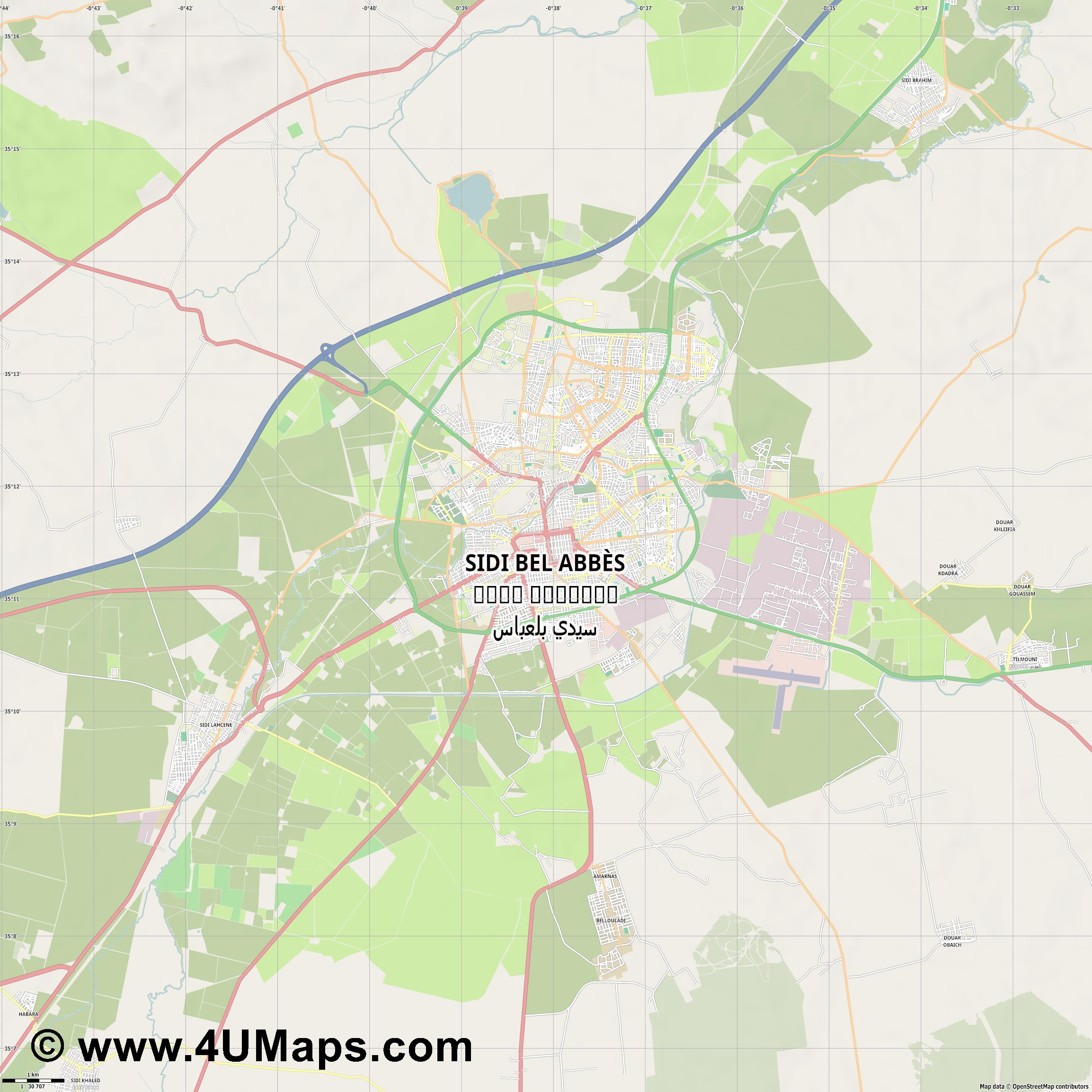 Sidi bel Abbès سيدي بلعباس Sidi Bel Abbès  jpg high detail, large area preview vector city map