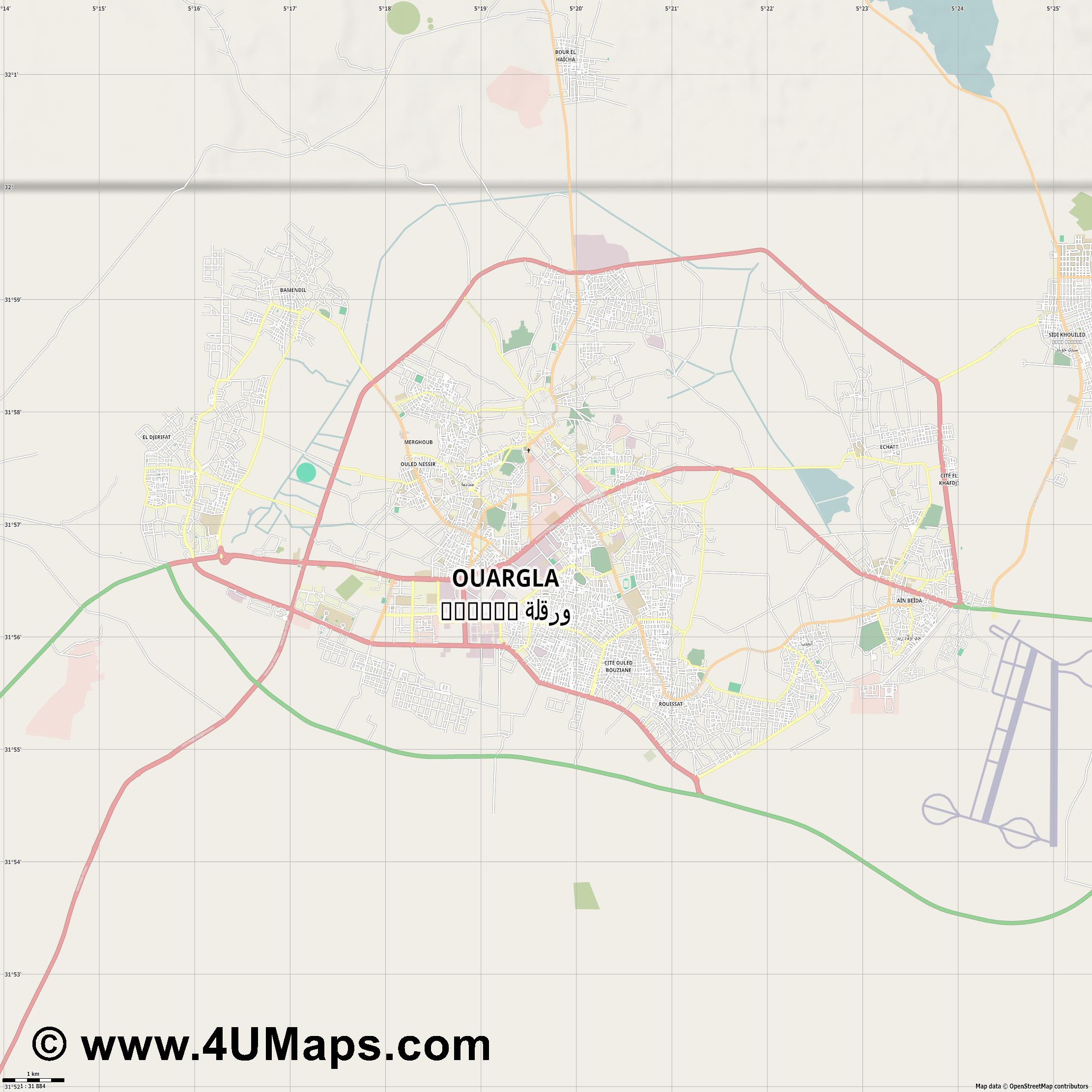 Svg Scalable Vector City Map Ouargla و رڤلة - Ouargla map