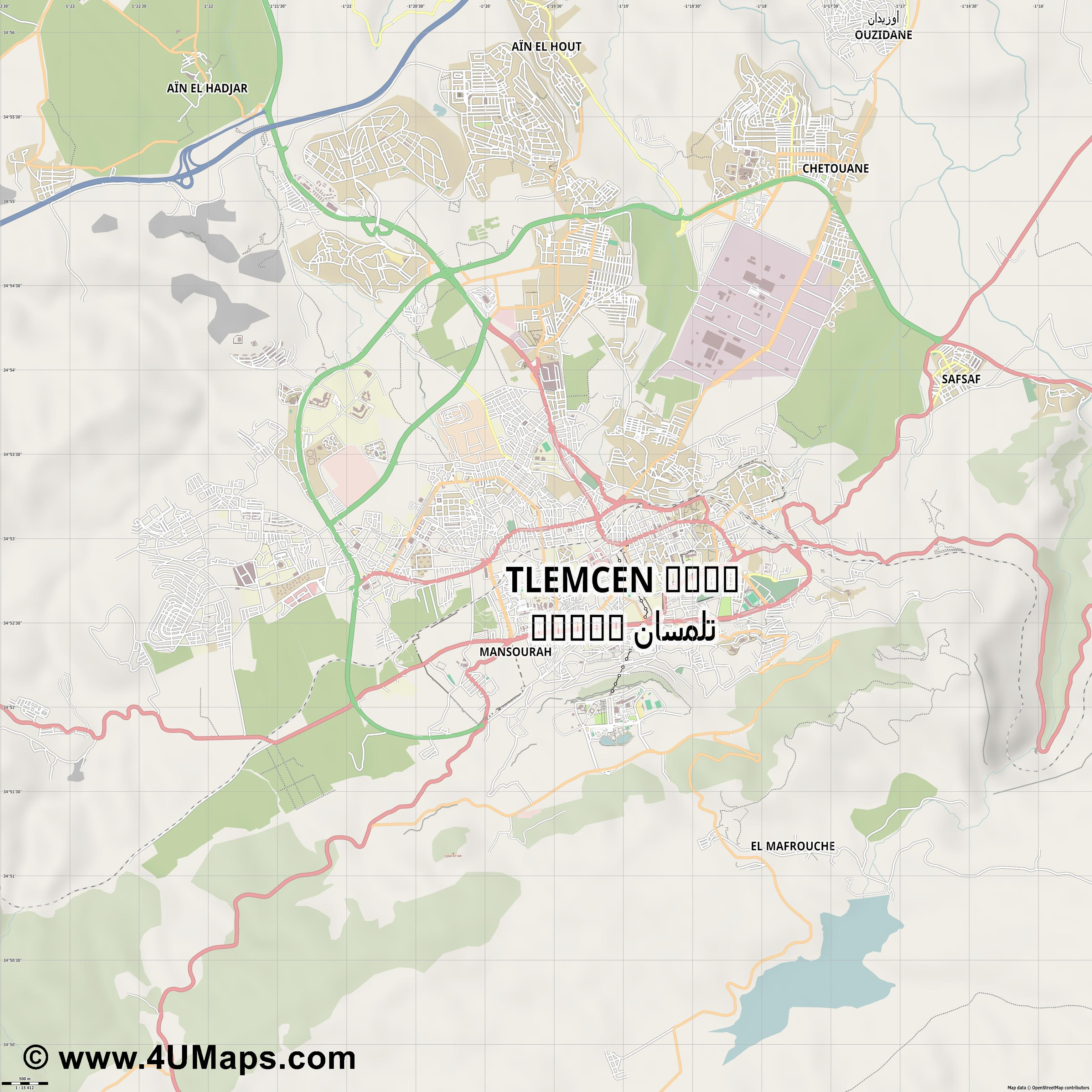 Tlemcen تلمسان  jpg ultra high detail preview vector city map