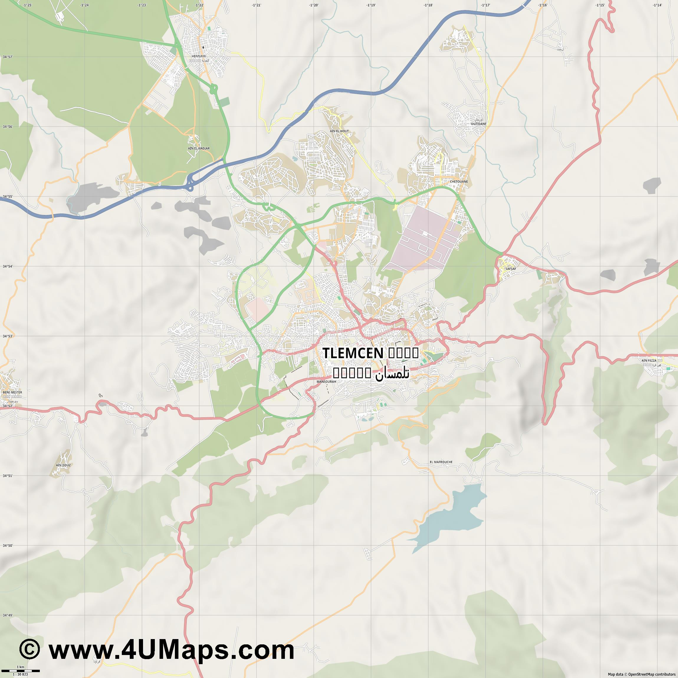 Tlemcen تلمسان  jpg high detail, large area preview vector city map