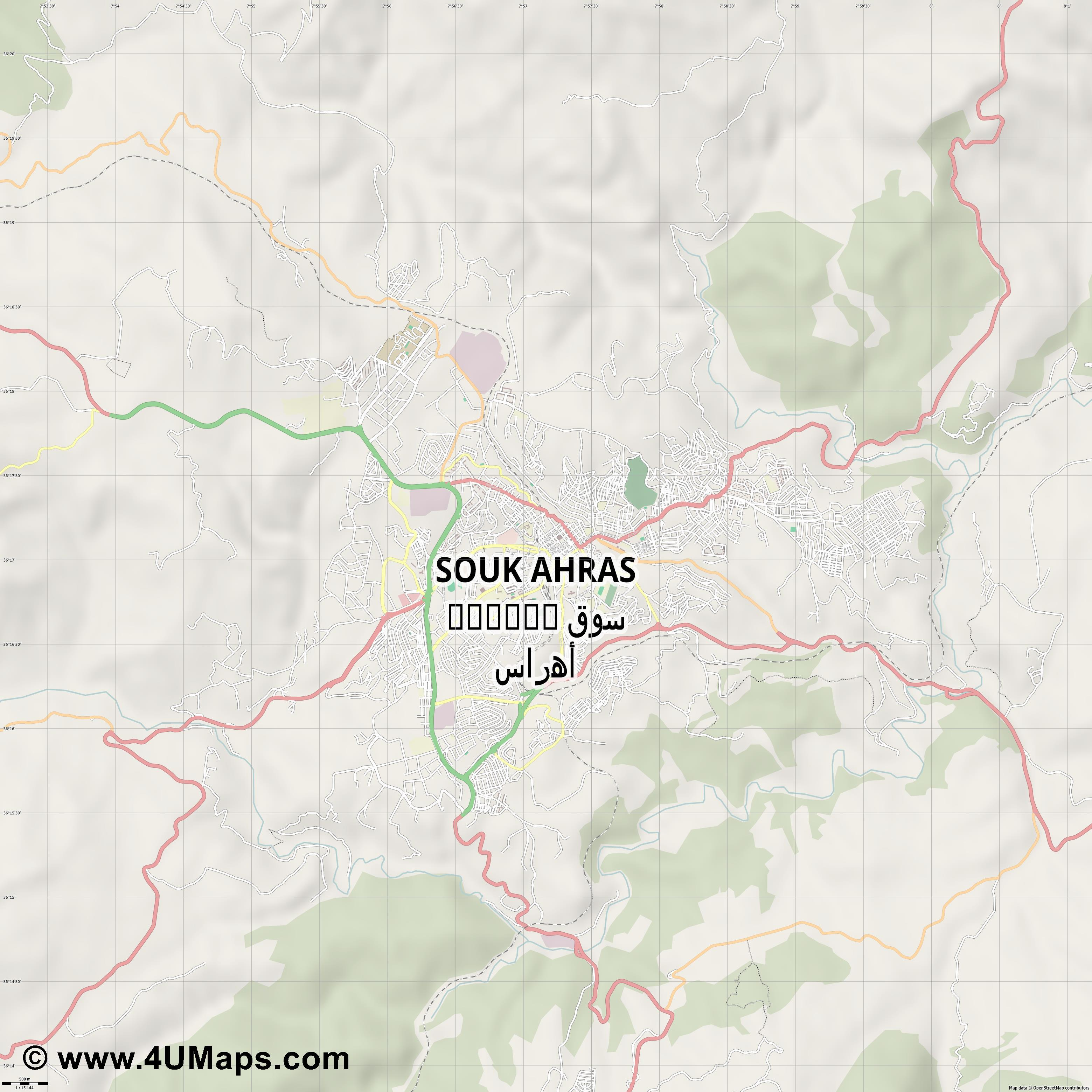 Souk Ahras  jpg ultra high detail preview vector city map