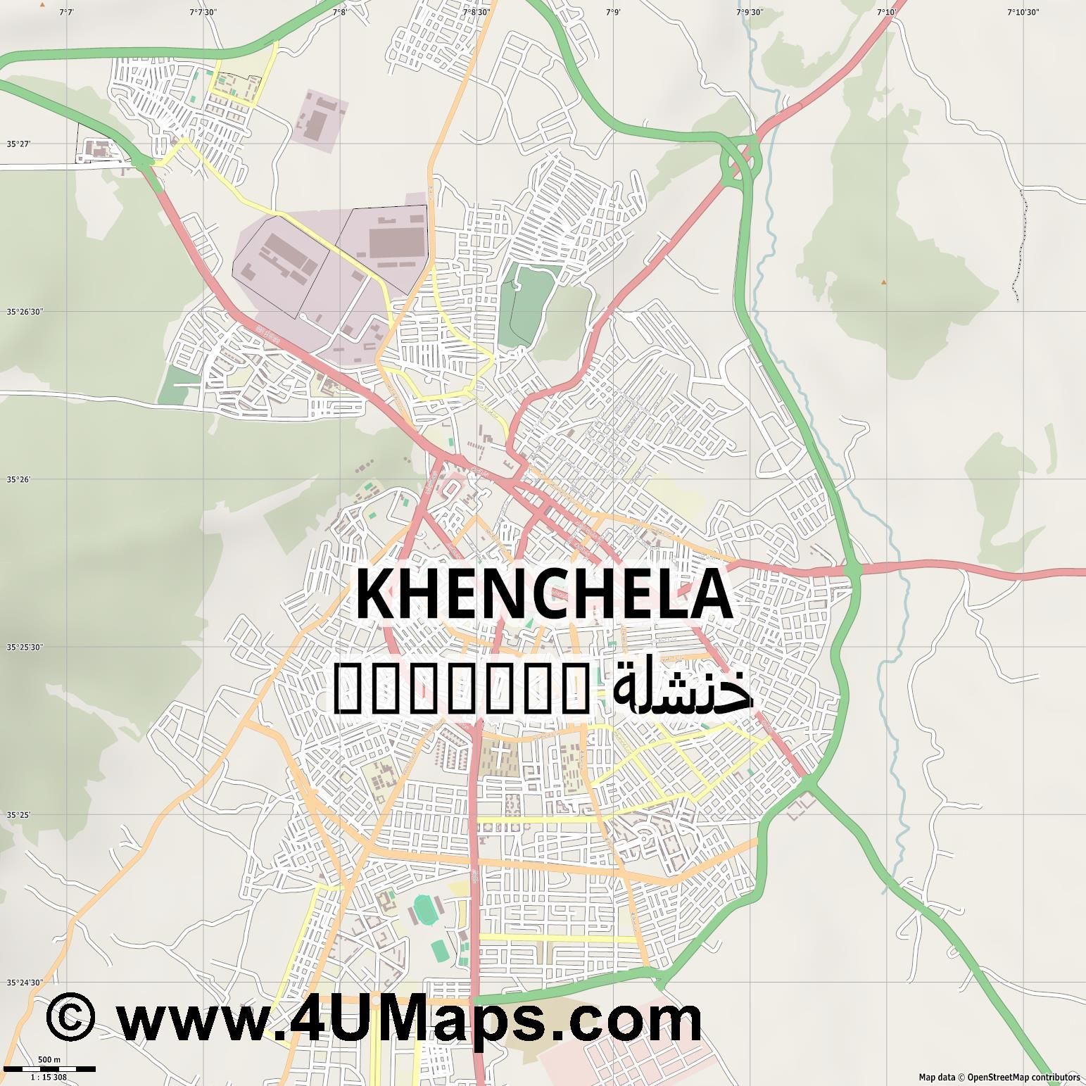 Khenchela خنشلة  jpg ultra high detail preview vector city map