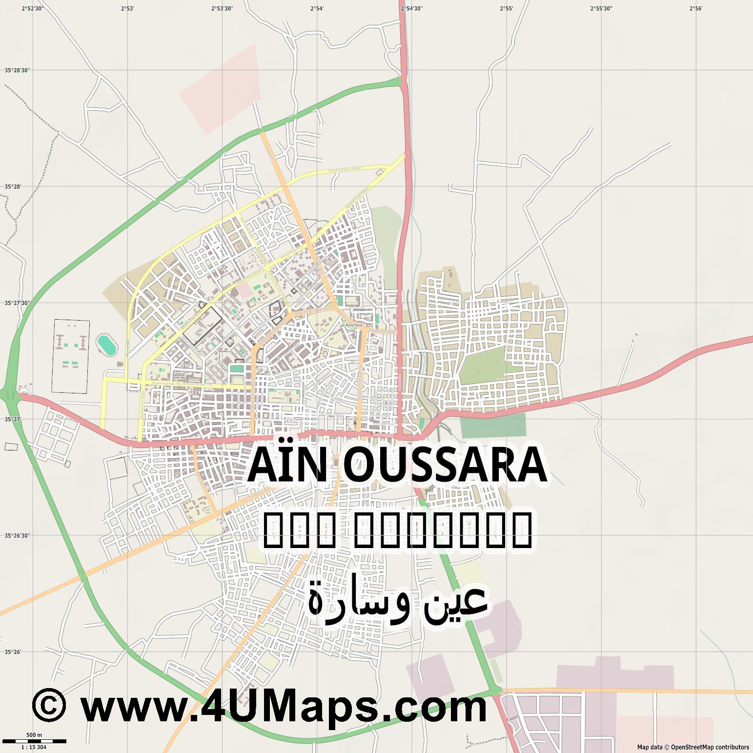 Aïn Oussara عين وسارة  jpg ultra high detail preview vector city map