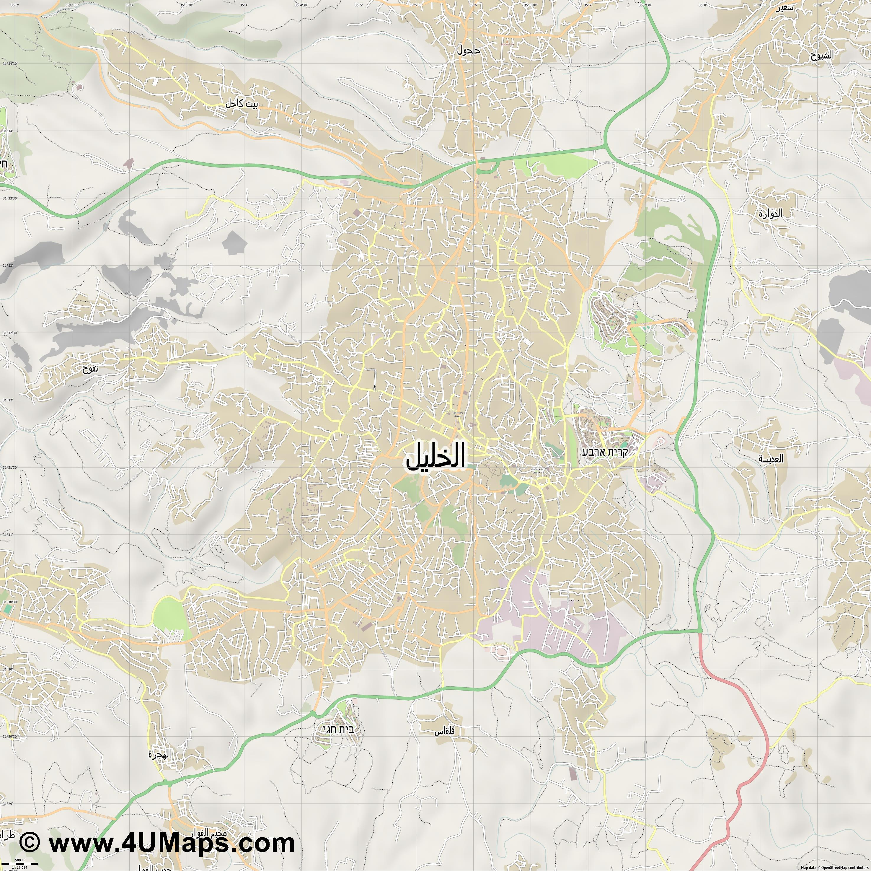 الخليل Hebron Hébron  jpg ultra high detail preview vector city map