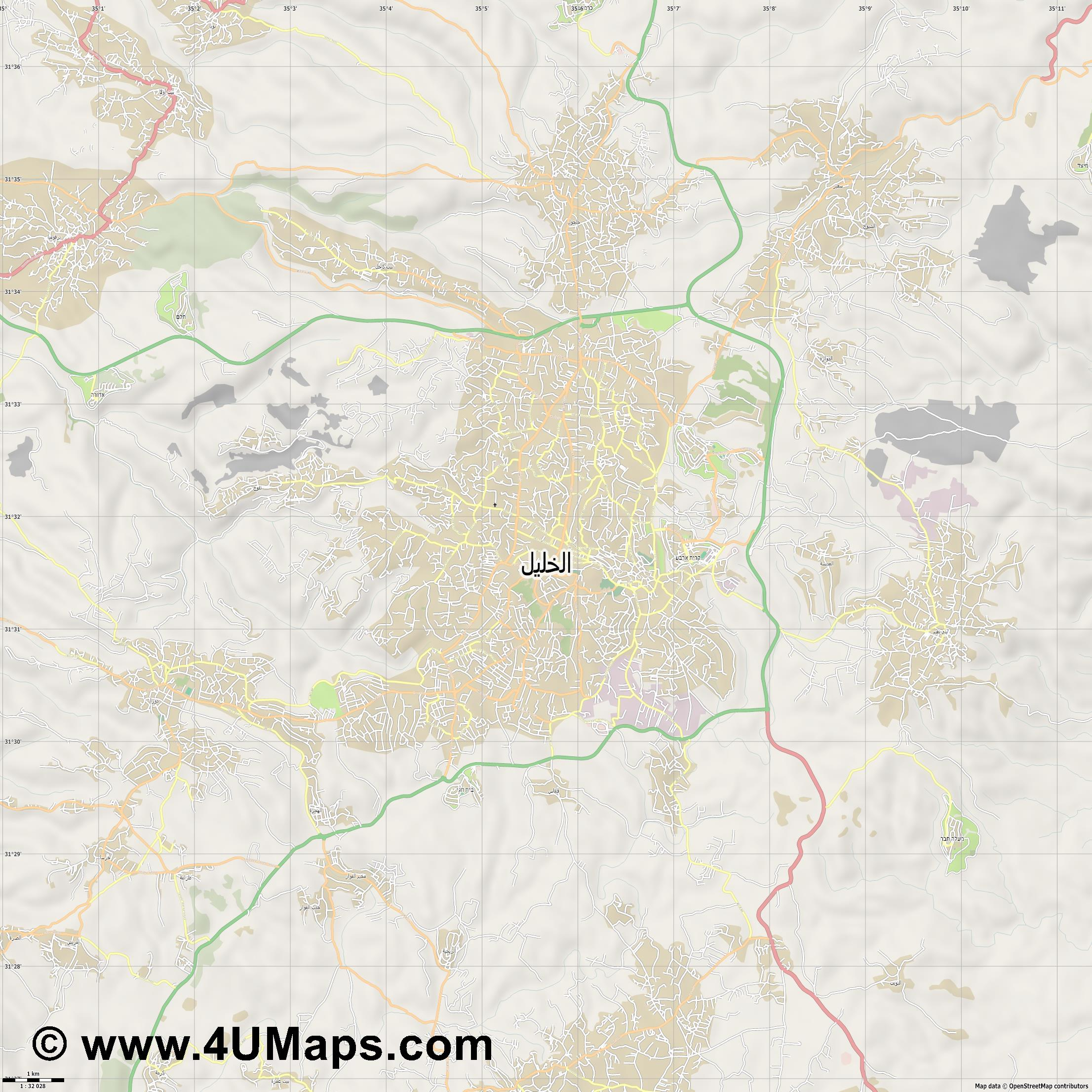 الخليل Hebron Hébron  jpg high detail, large area preview vector city map
