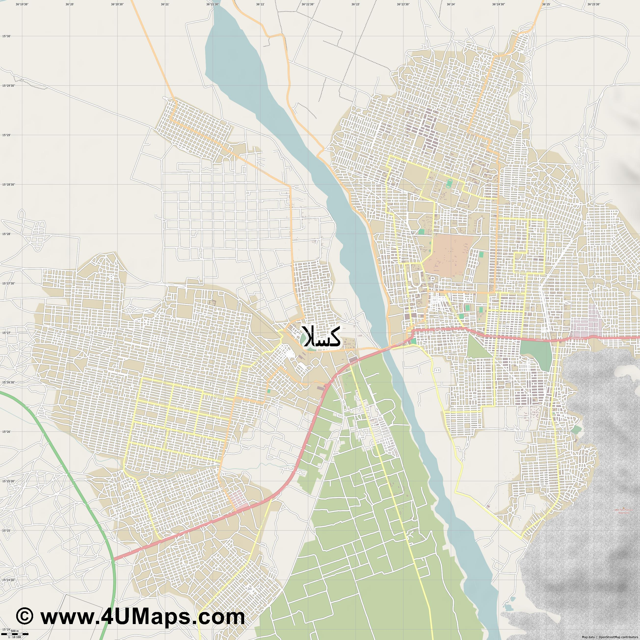 كسلا Kassala  jpg ultra high detail preview vector city map