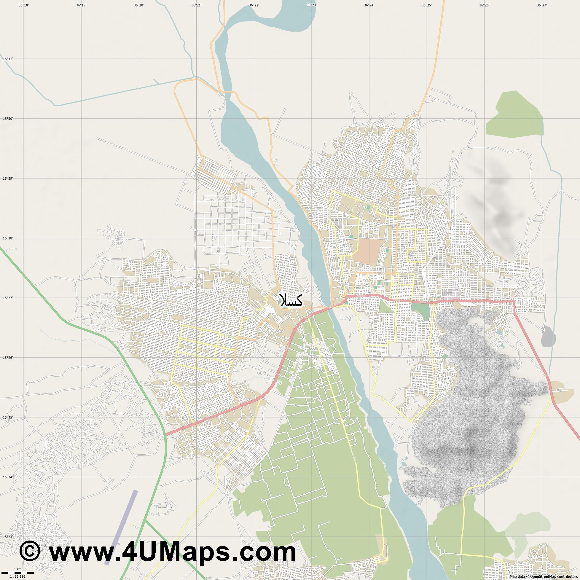 كسلا Kassala  jpg high detail, large area preview vector city map