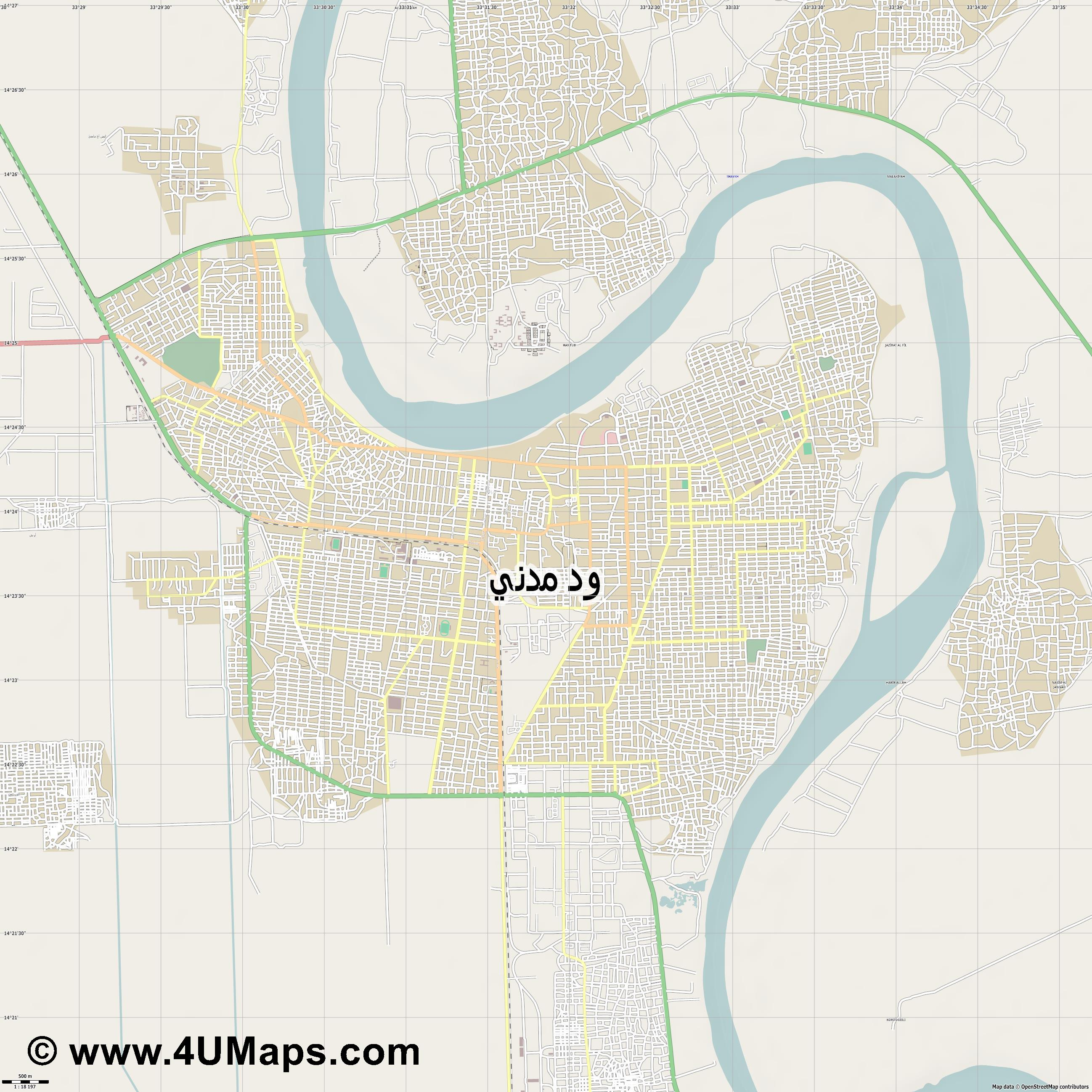 ودمدني  Wad Madani Wad Madanī  jpg ultra high detail preview vector city map