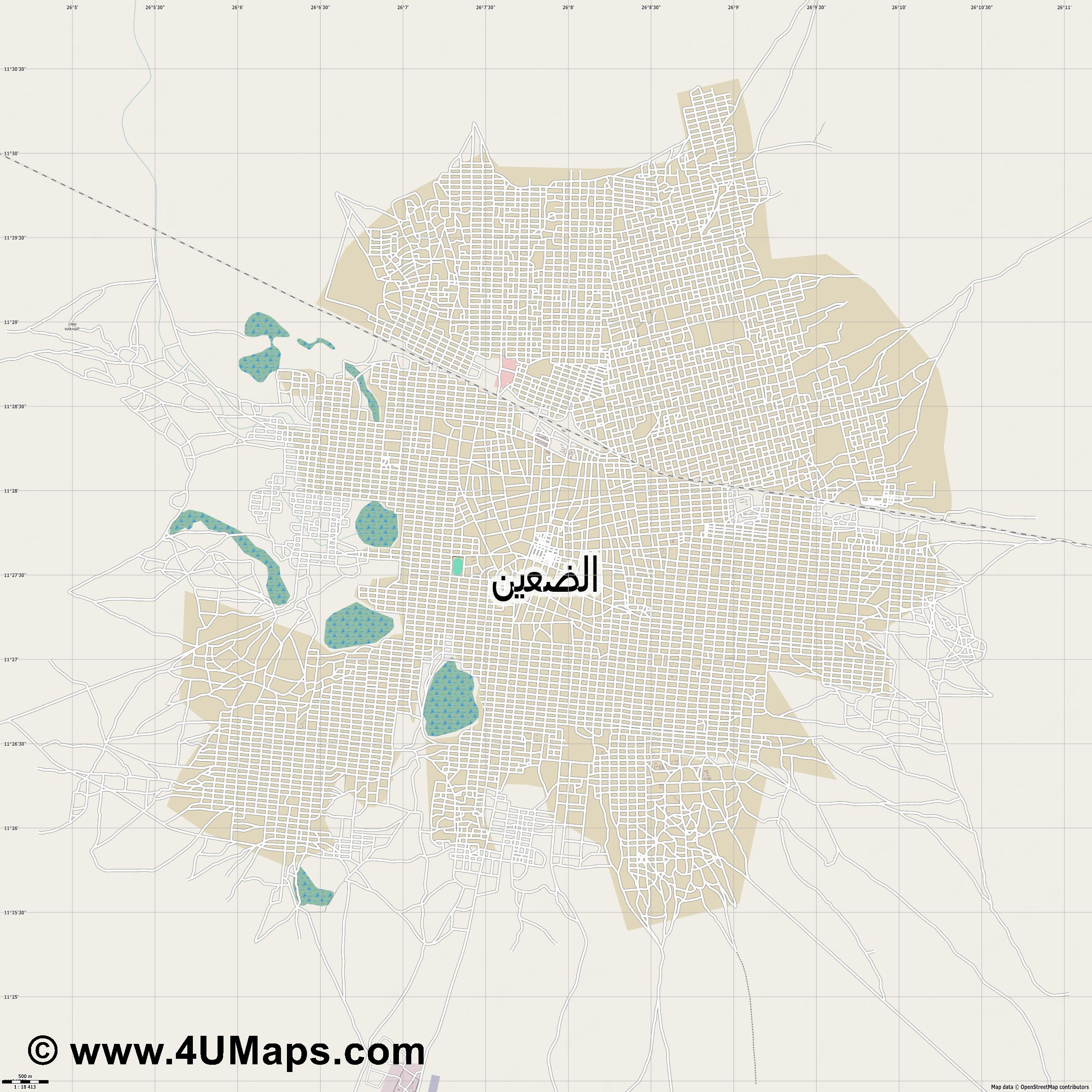 الضعين Ad Da ein  jpg ultra high detail preview vector city map