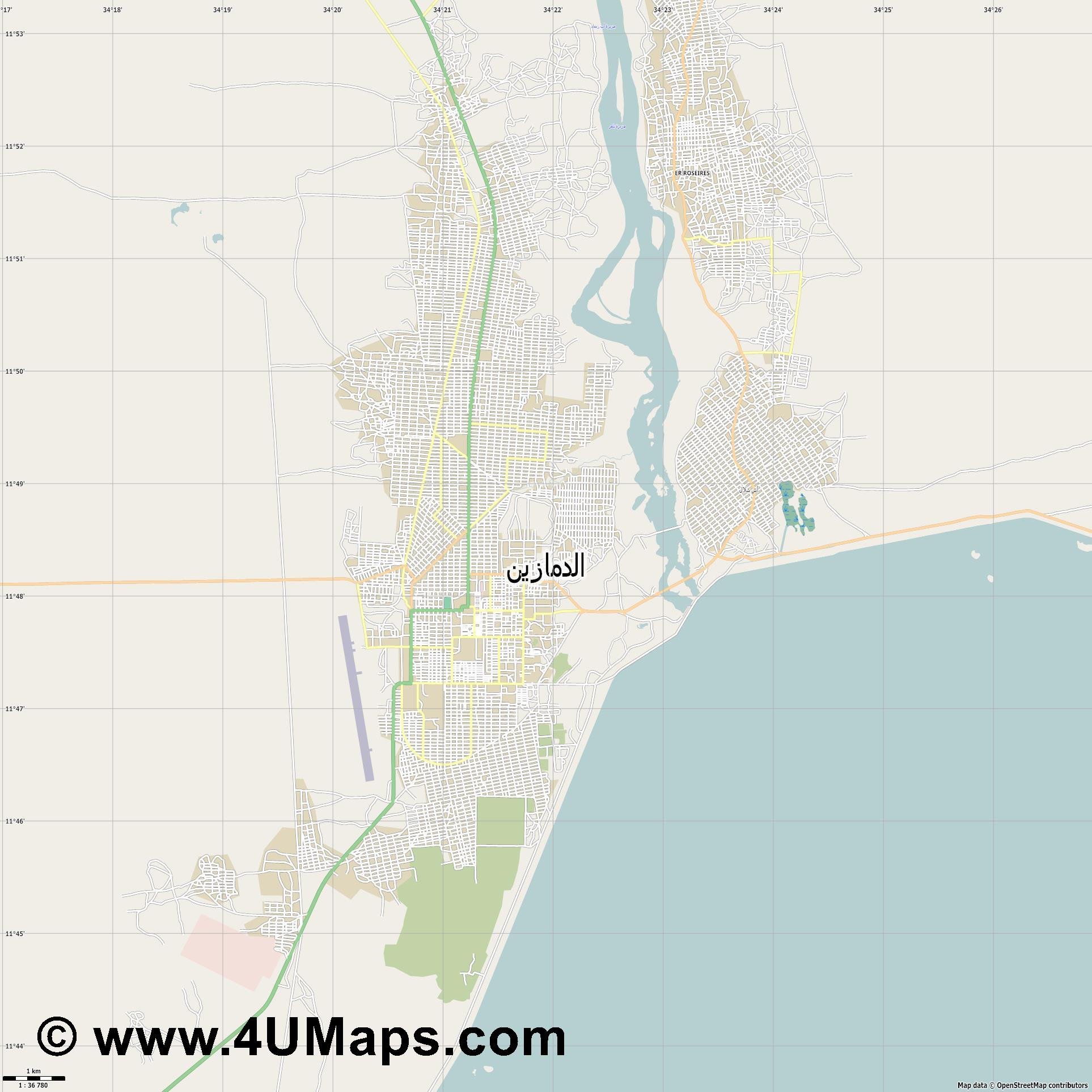 Ad Damazin الدمازين  jpg high detail, large area preview vector city map