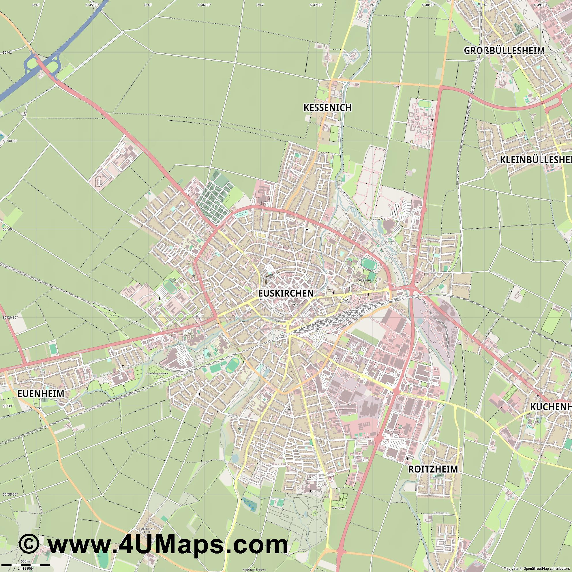Euskirchen  jpg ultra high detail preview vector city map