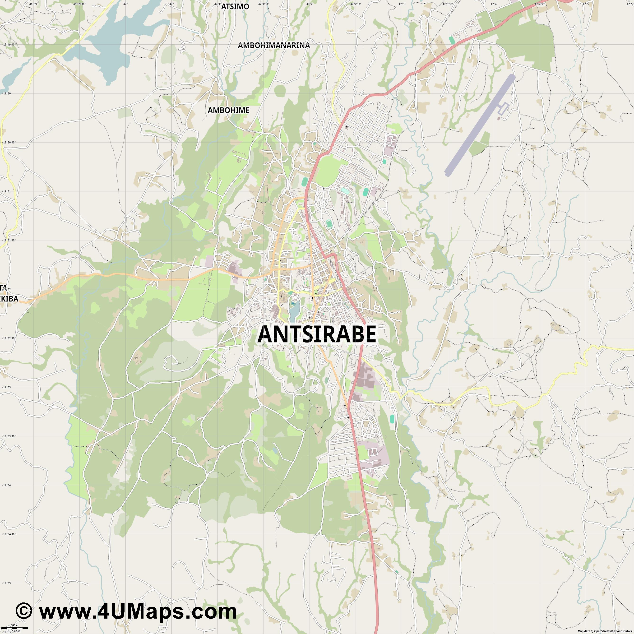 Antsirabe  jpg ultra high detail preview vector city map
