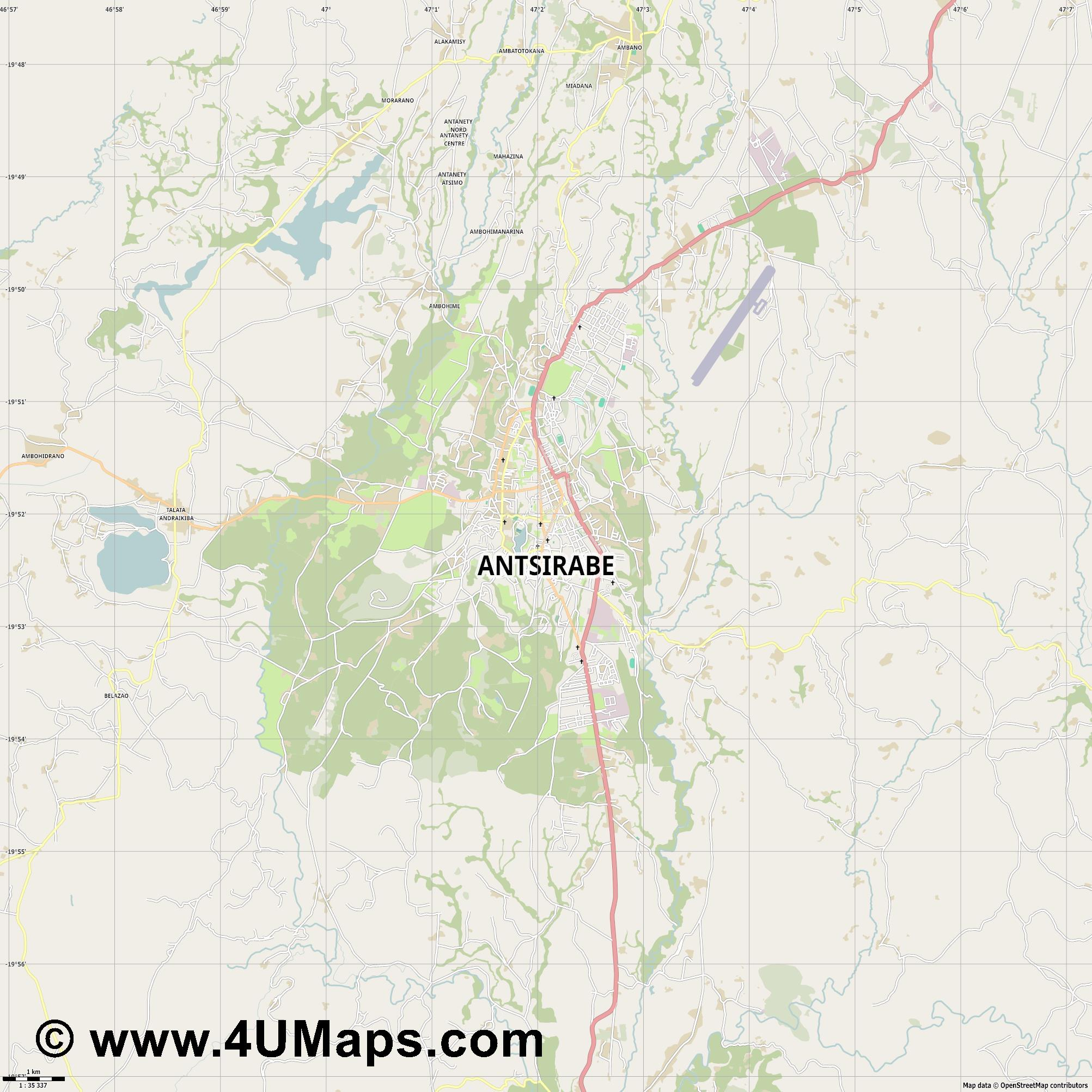 Antsirabe  jpg high detail, large area preview vector city map