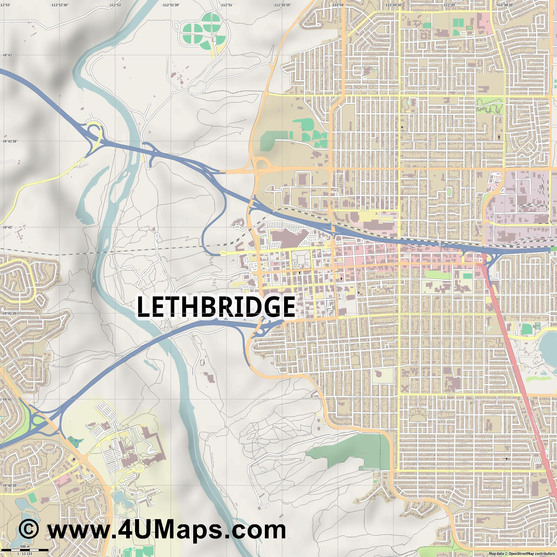 Lethbridge  jpg ultra high detail preview vector city map