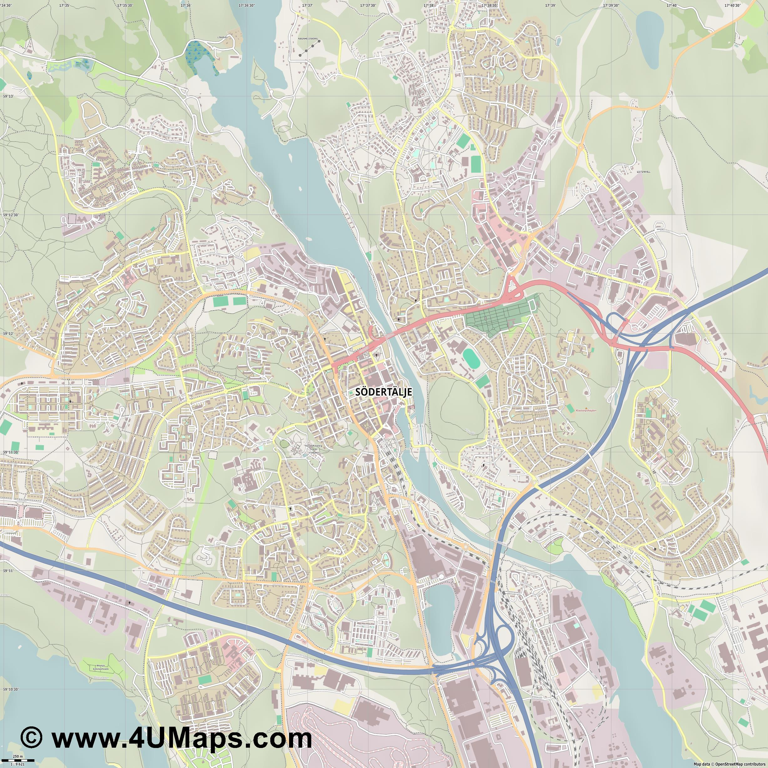 Södertälje  jpg ultra high detail preview vector city map