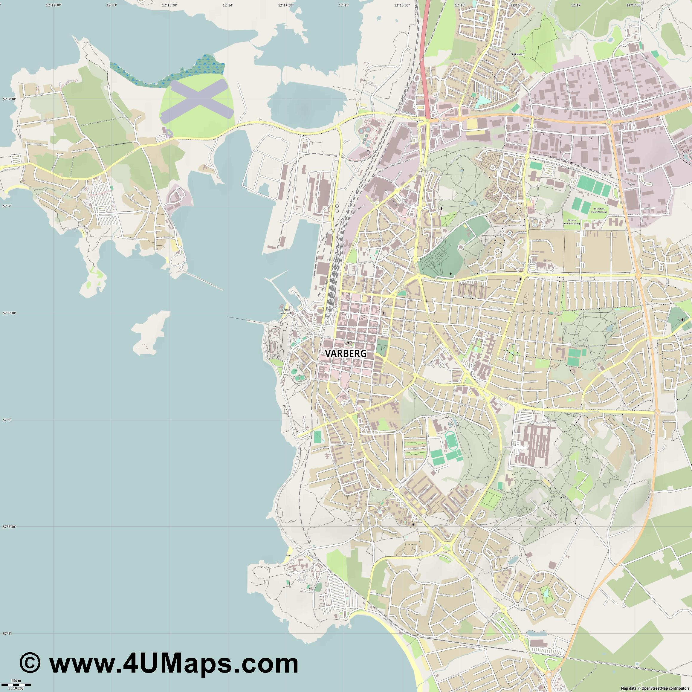 Varberg  jpg ultra high detail preview vector city map