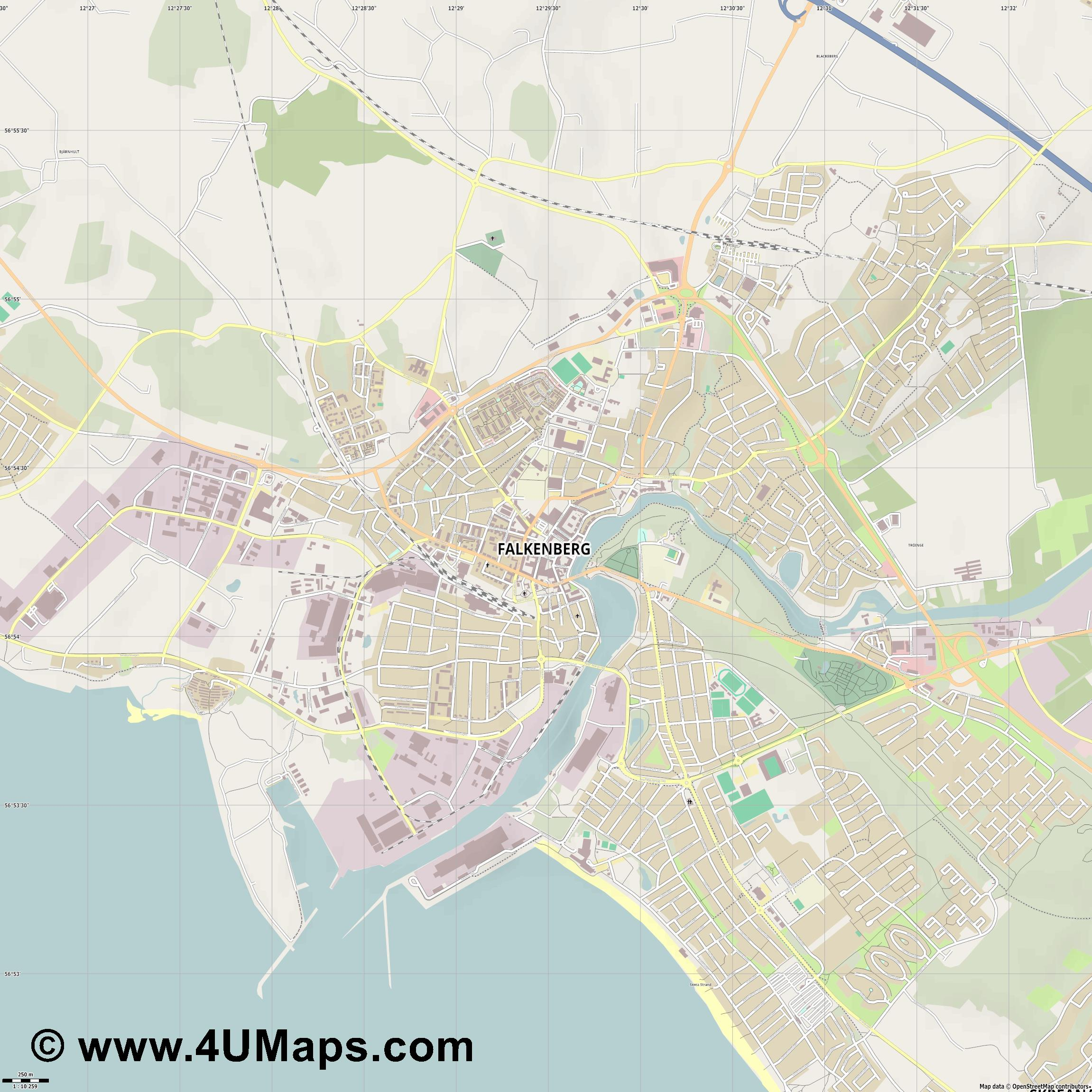 Falkenberg  jpg ultra high detail preview vector city map