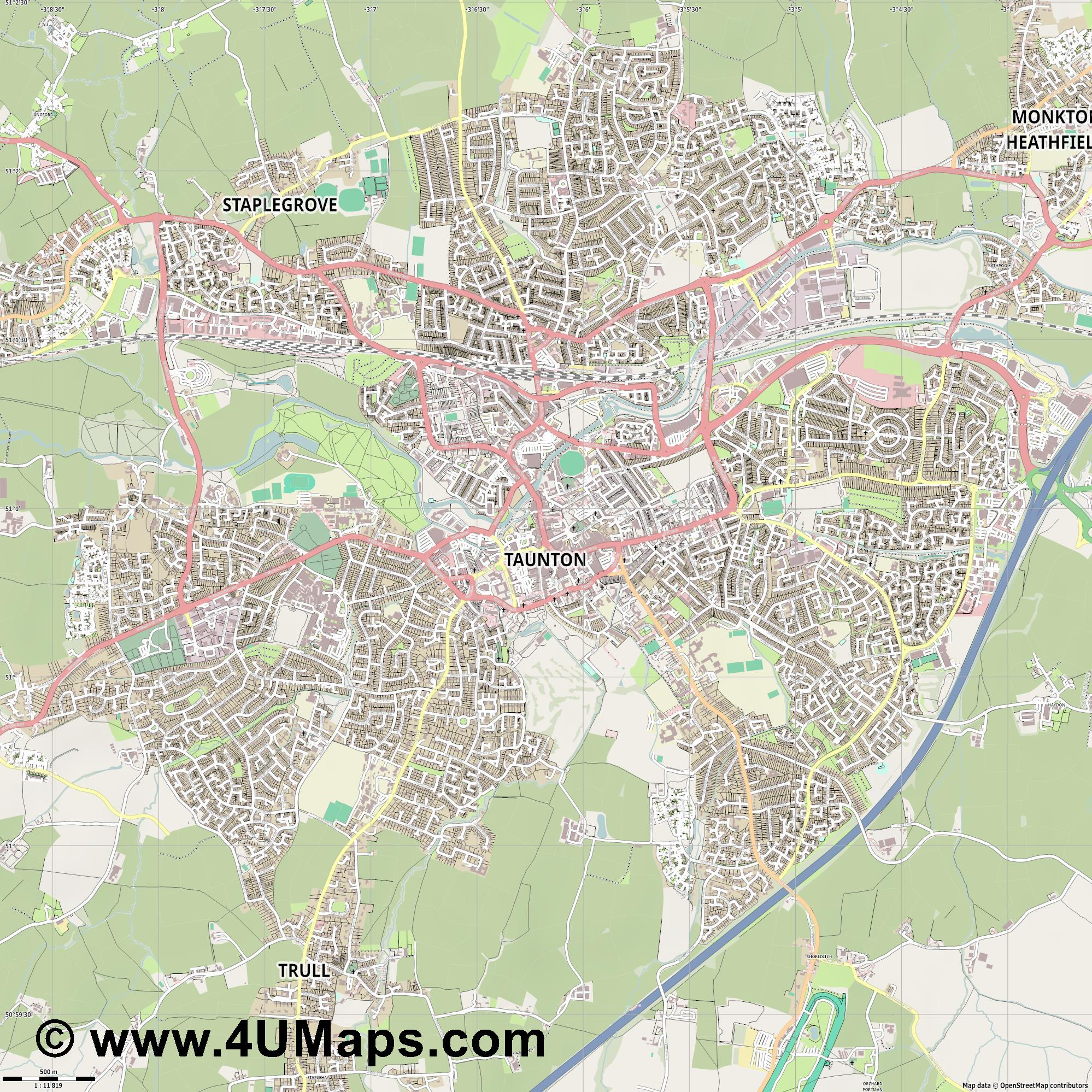 Taunton  jpg ultra high detail preview vector city map