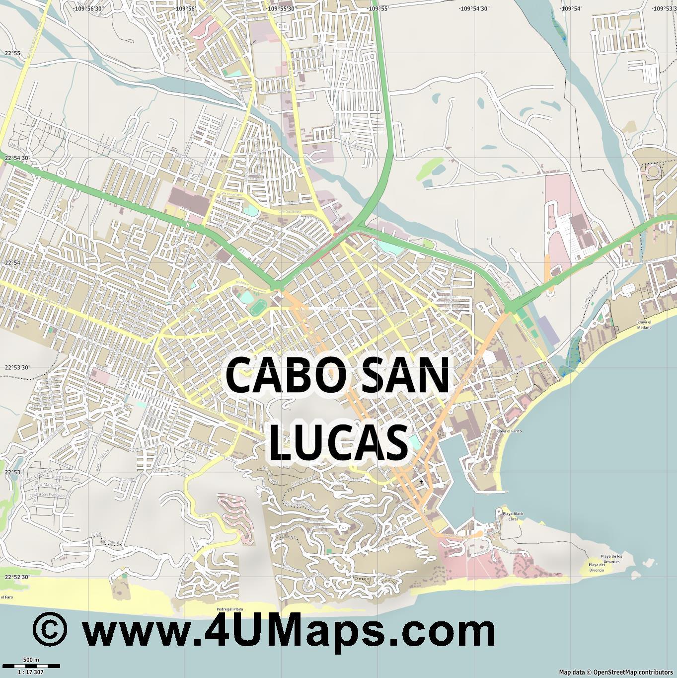 PDF, Svg Scalable Vector City Map Cabo San Lucas