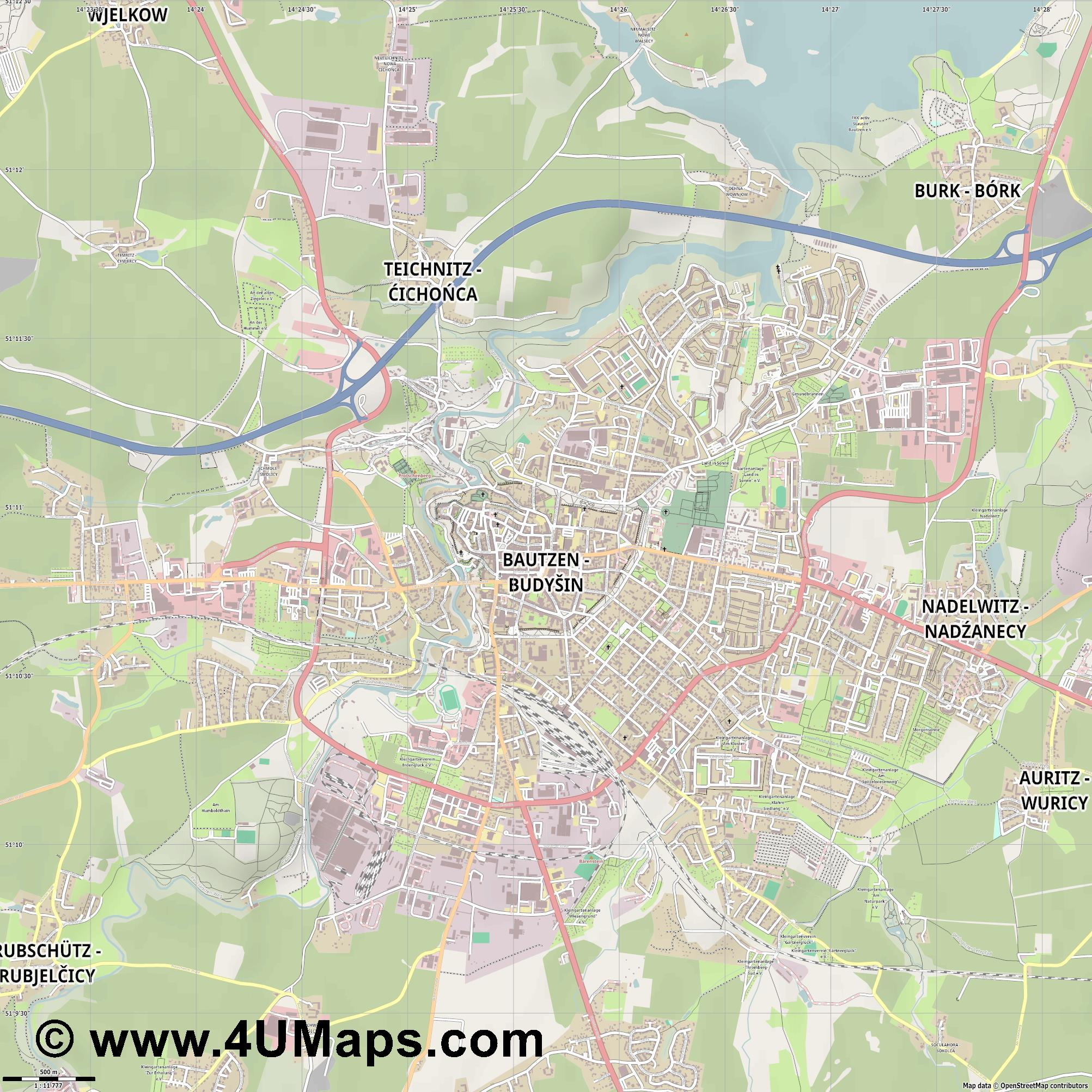Bautzen  jpg ultra high detail preview vector city map