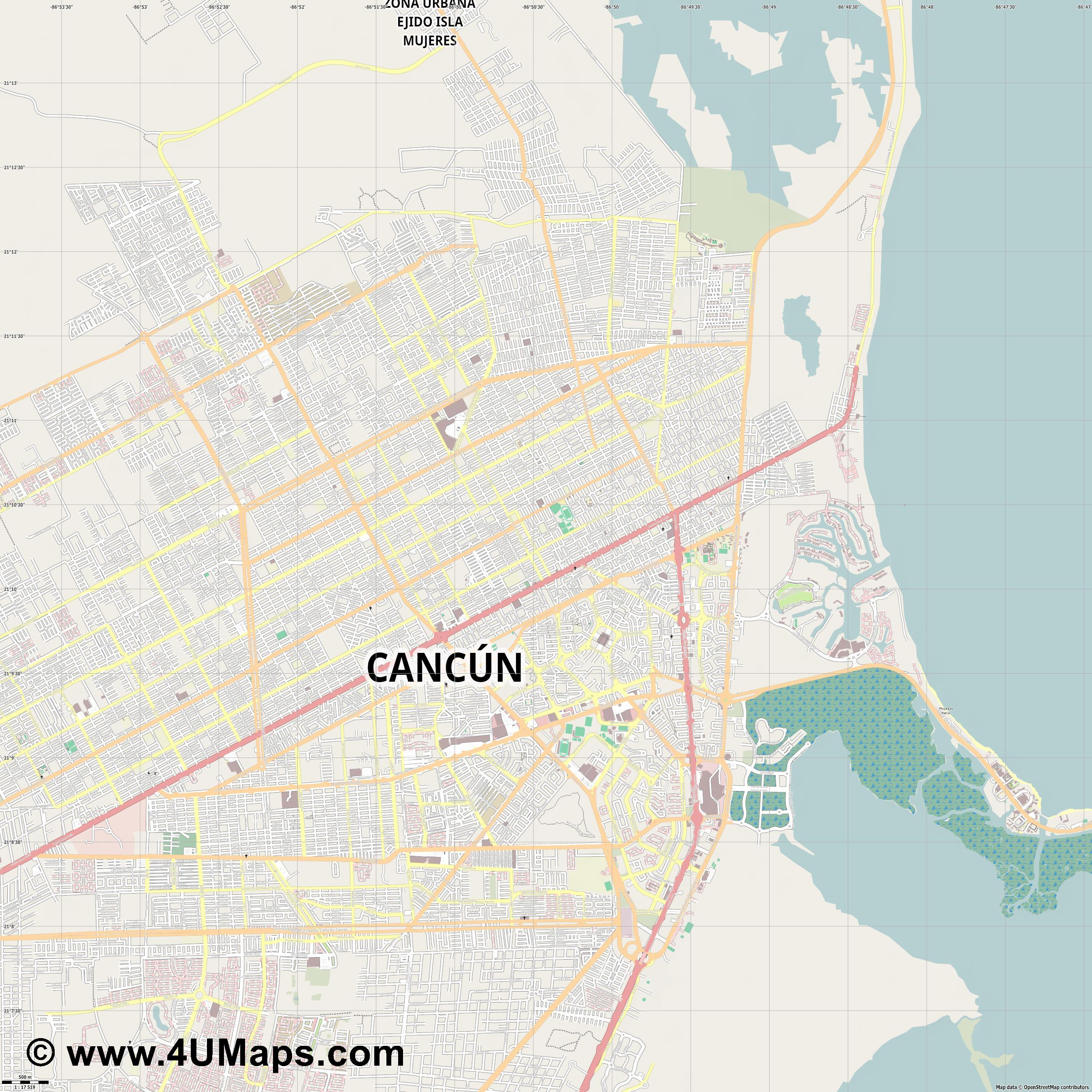 Cancún  jpg ultra high detail preview vector city map