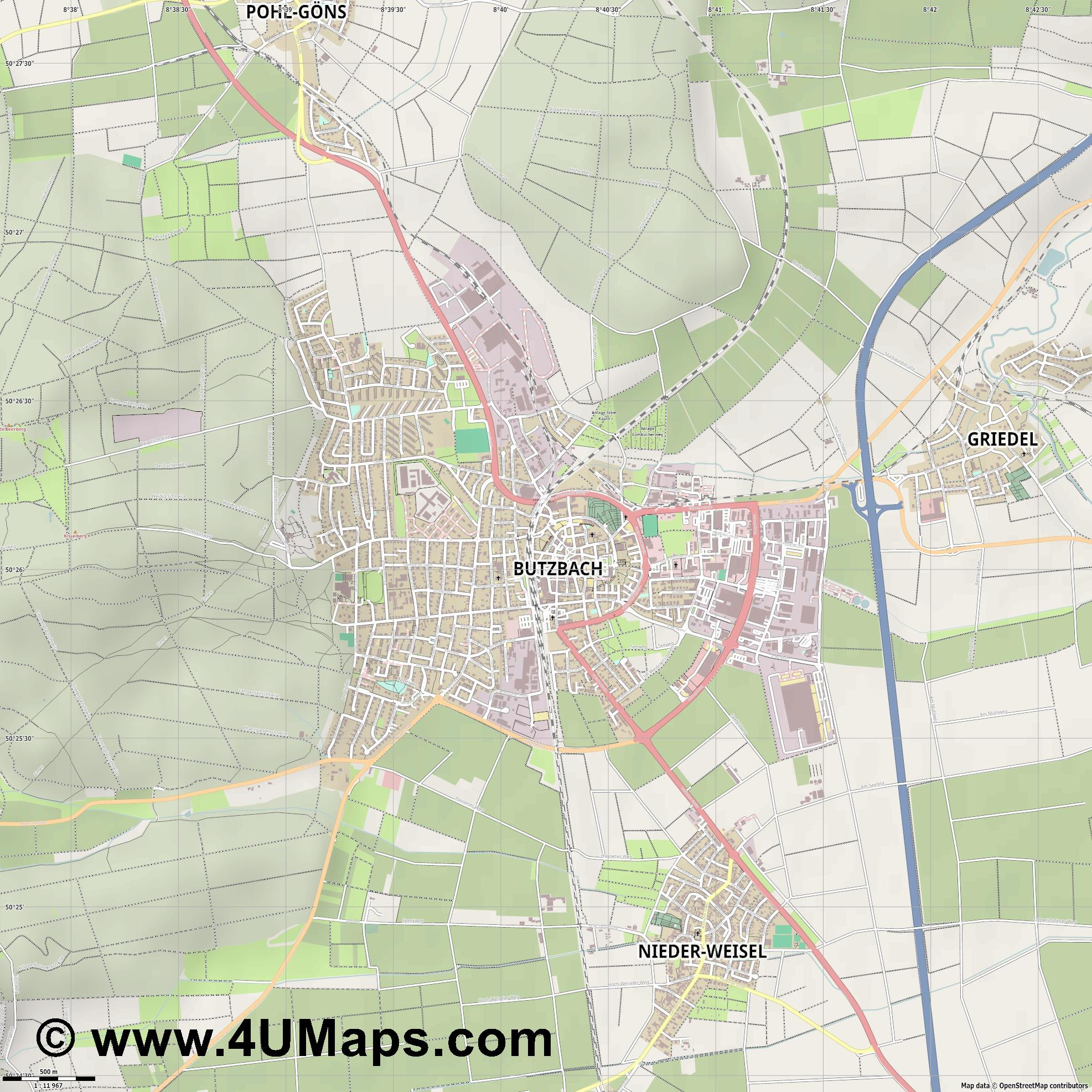 Butzbach  jpg ultra high detail preview vector city map