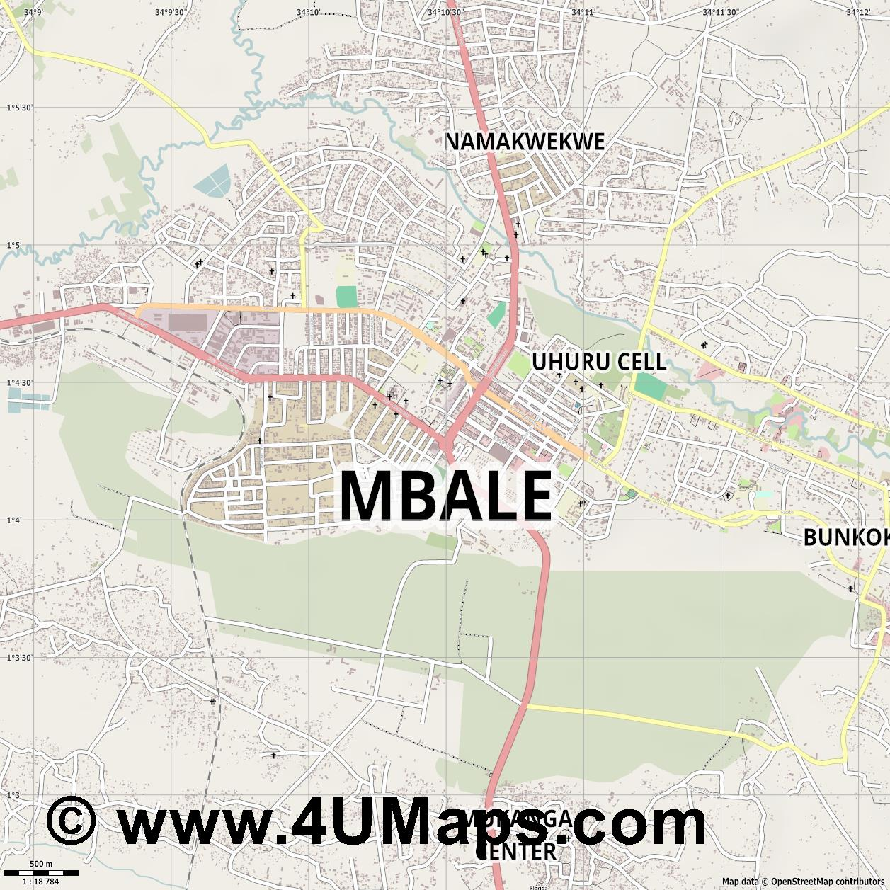 Mbale  jpg ultra high detail preview vector city map