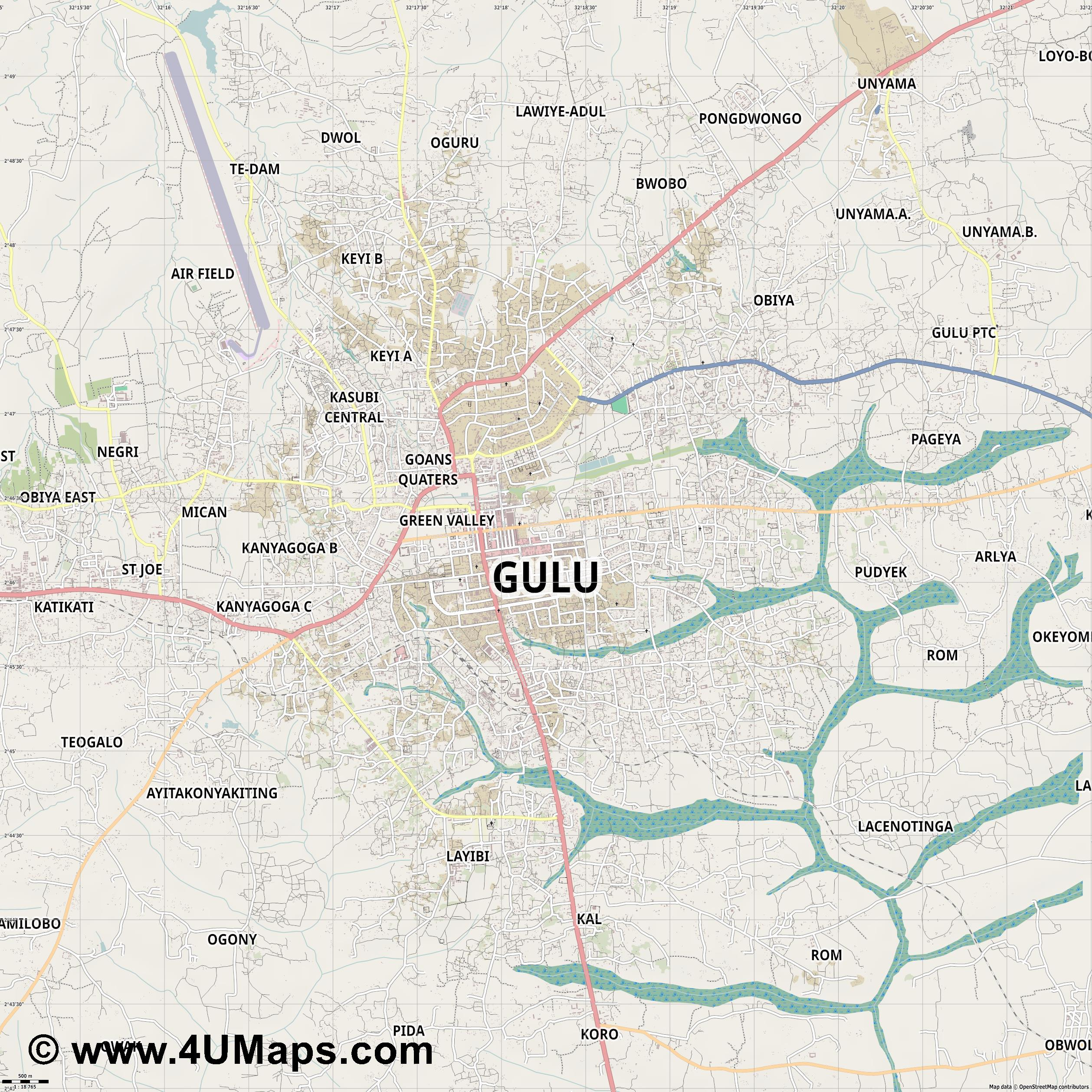 Gulu  jpg ultra high detail preview vector city map