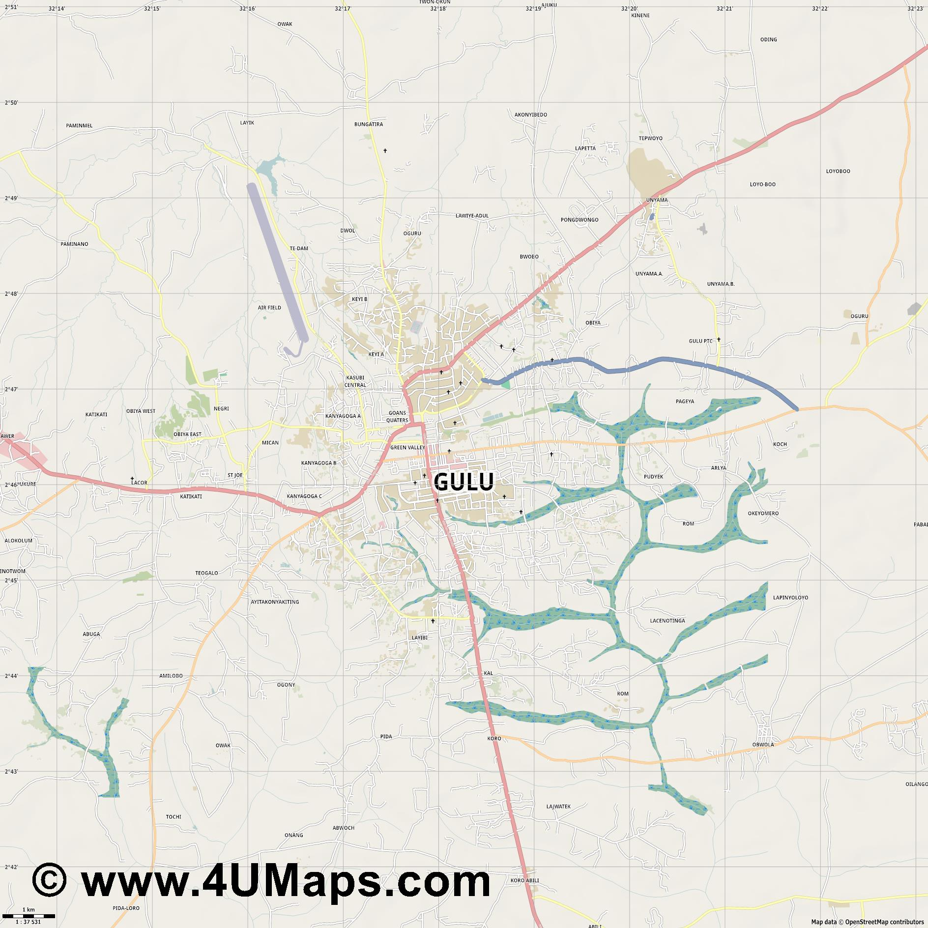 Gulu  jpg high detail, large area preview vector city map