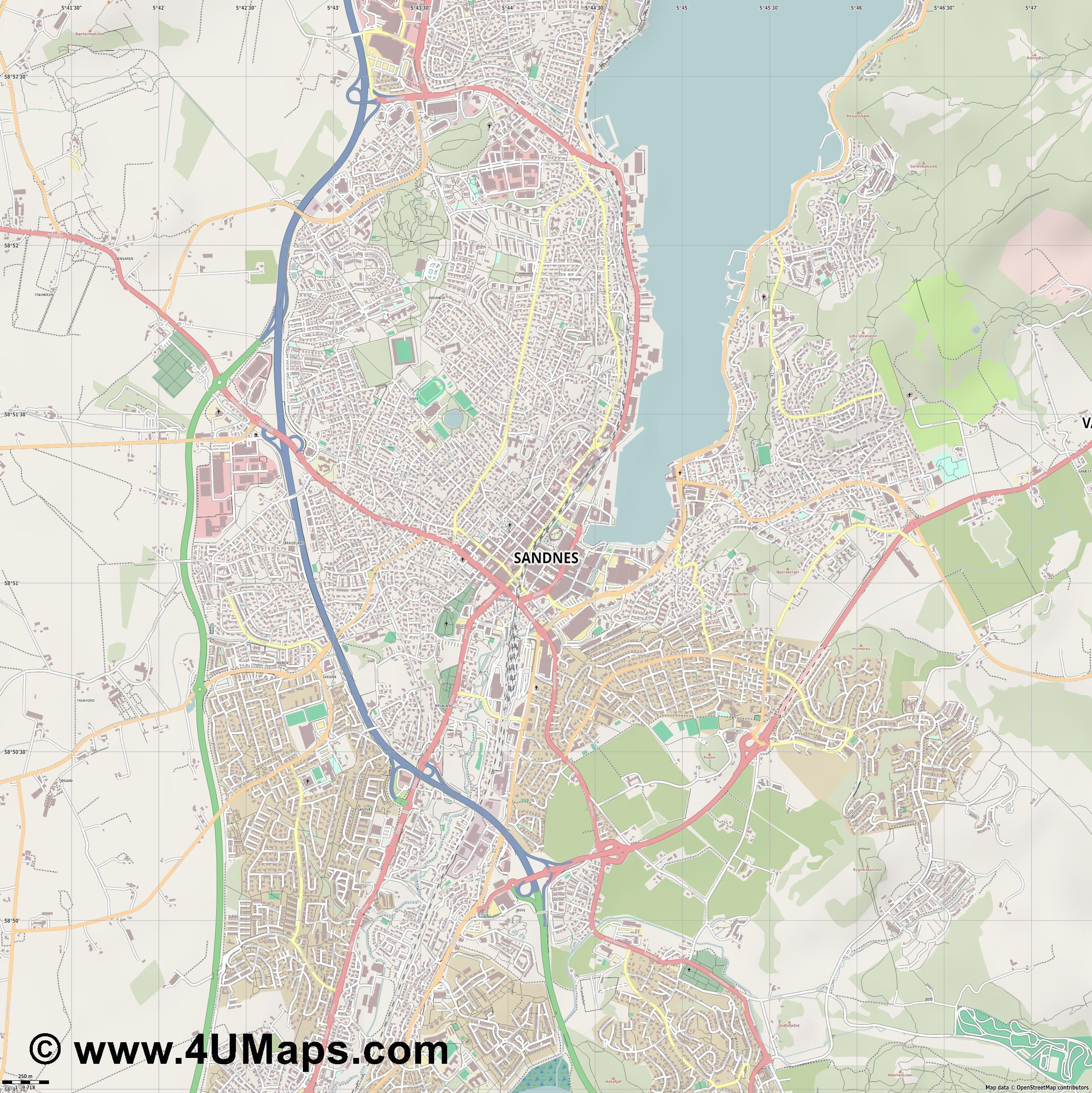 Sandnes  jpg ultra high detail preview vector city map