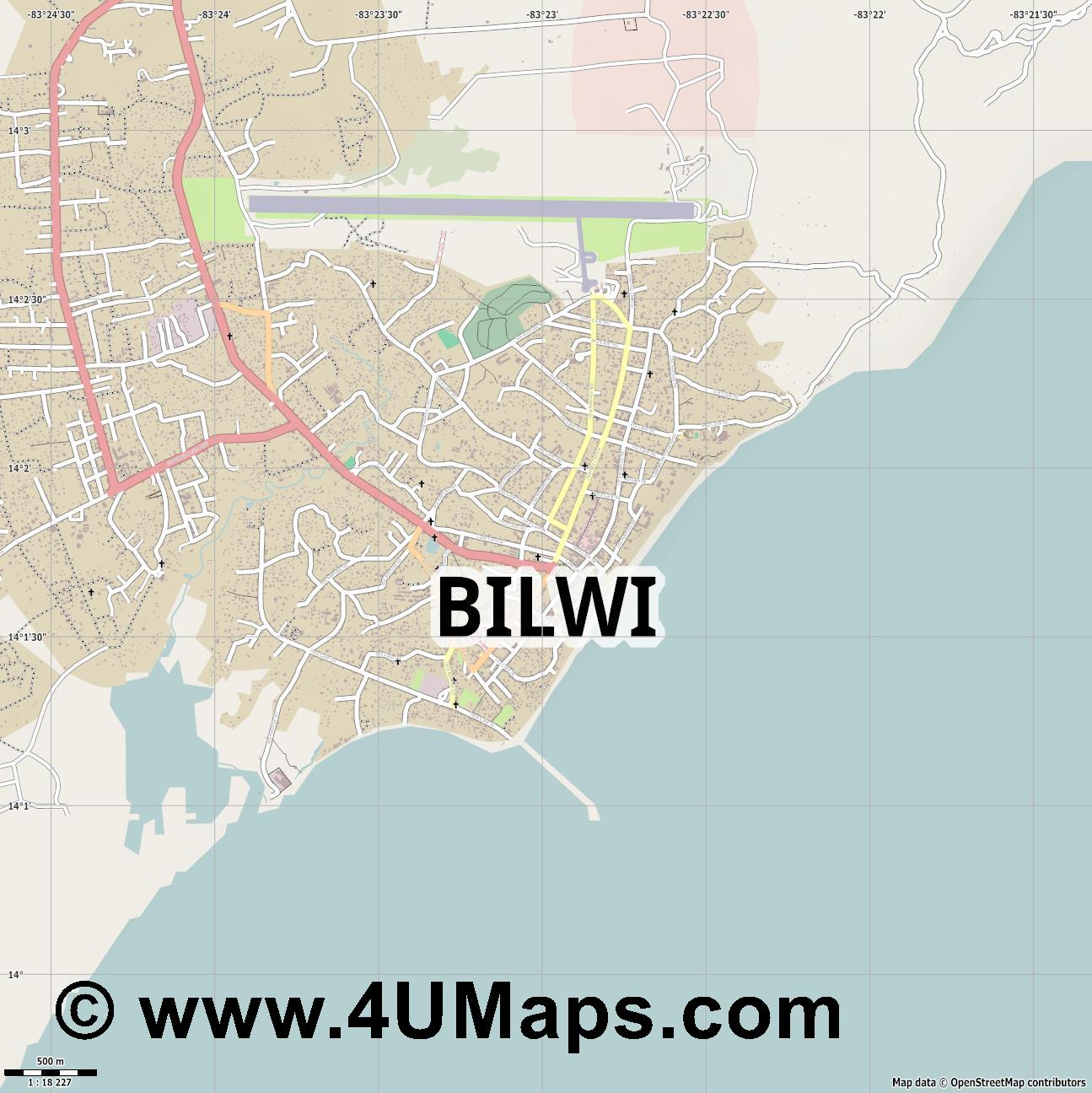 Bilwi  Puerto Cabezas   jpg ultra high detail preview vector city map