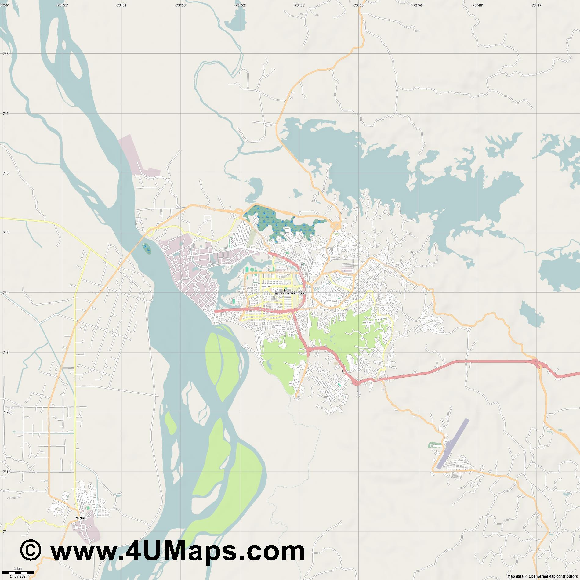 Barrancabermeja  jpg high detail, large area preview vector city map