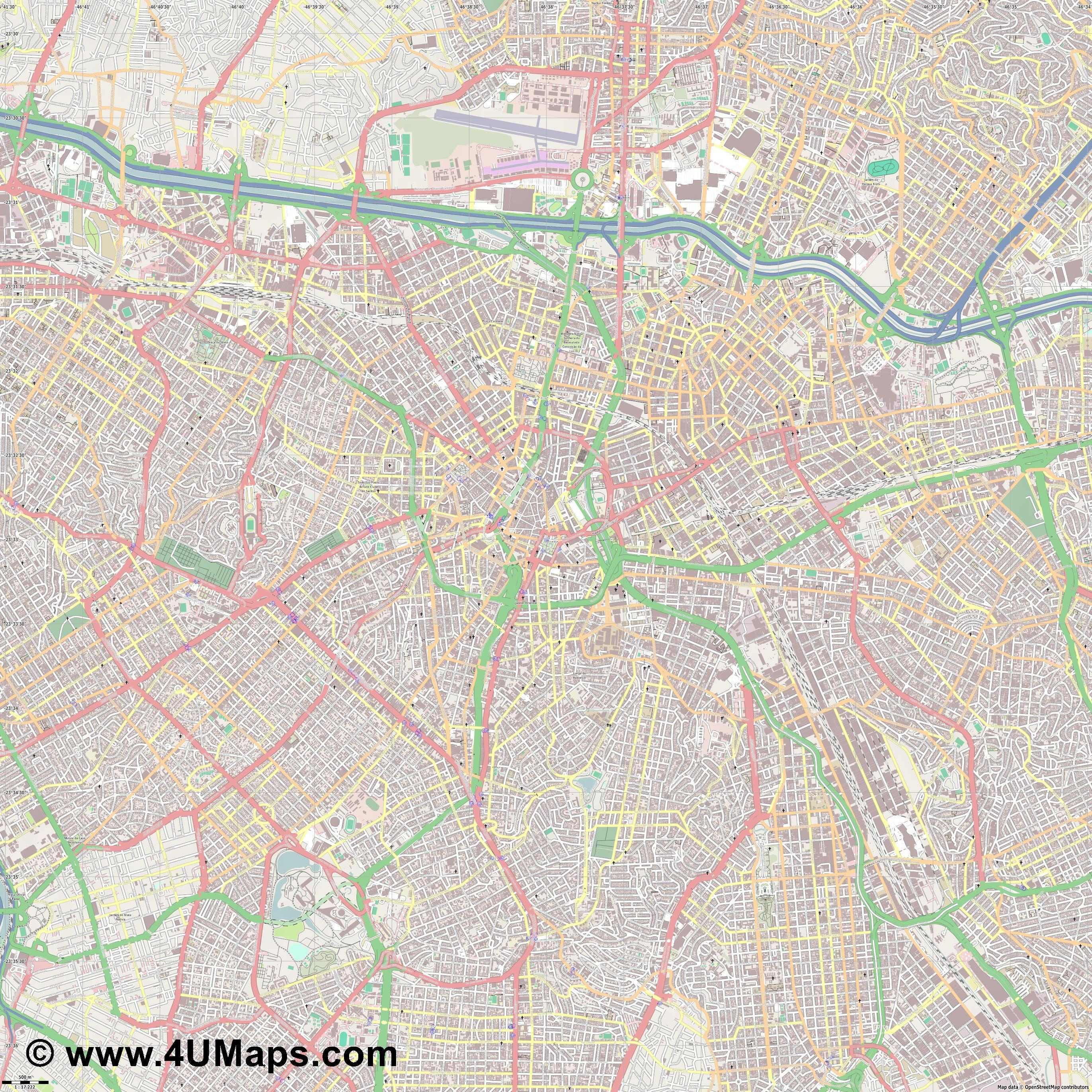 Svg Scalable Vector City Map São Paulo - Map of sao paulo