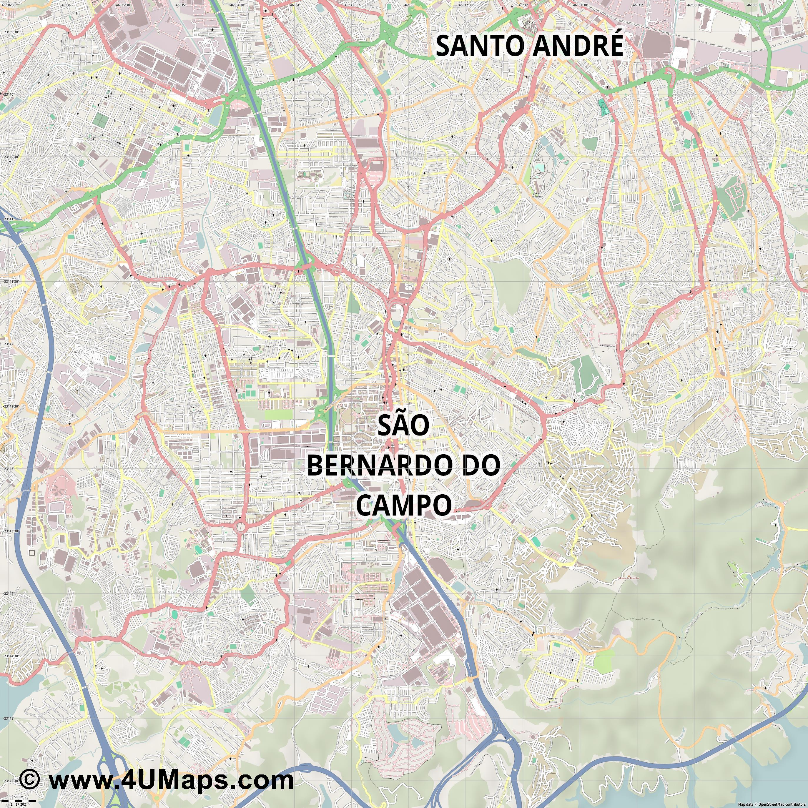 São Bernardo do Campo  jpg ultra high detail preview vector city map